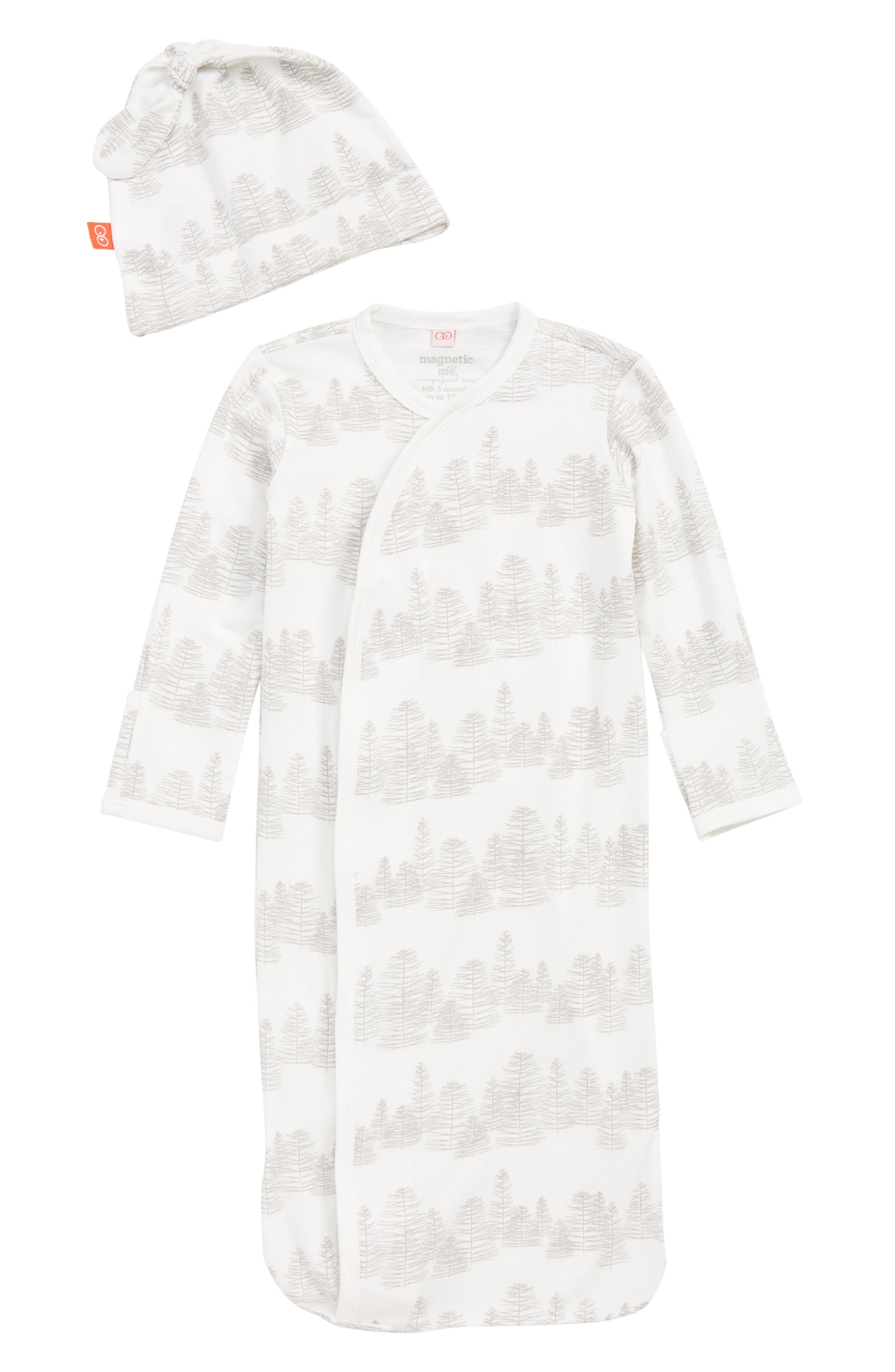 Print Gown & Hat Set,                         Main,                         color, 100