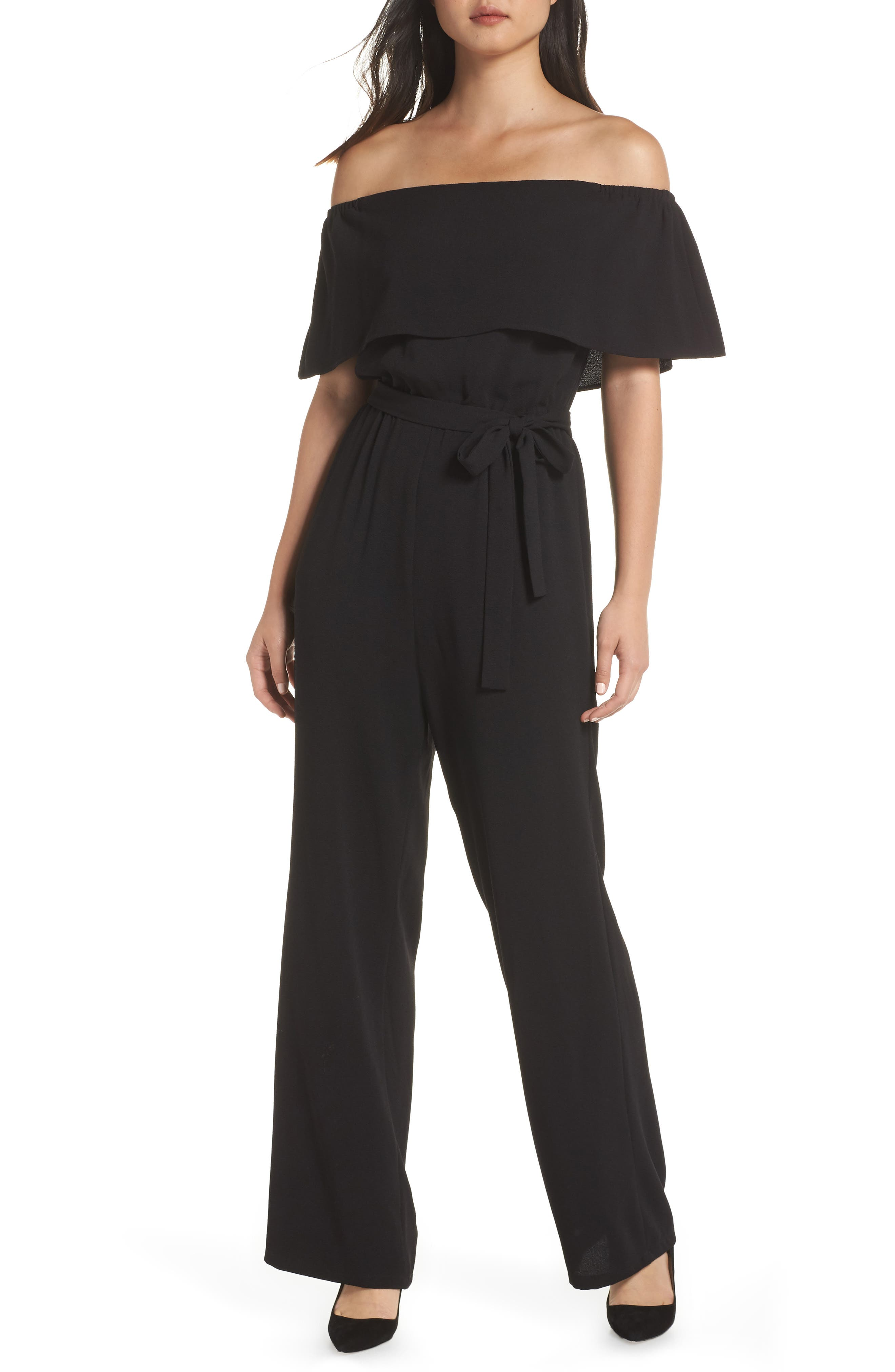 CHARLES HENRY Off The Shoulder Popover Jumpsuit in Black