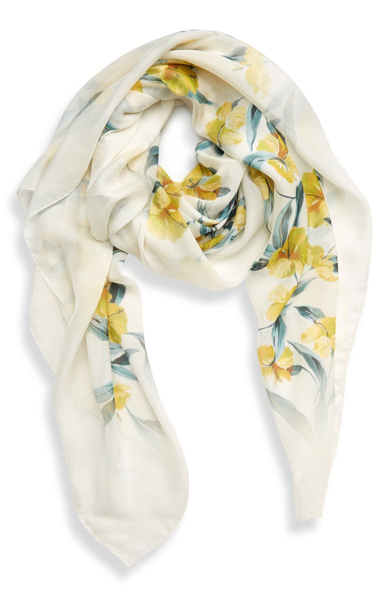 MAX MARA Dimma Floral Print Silk Scarf, Main, color, YELLOW