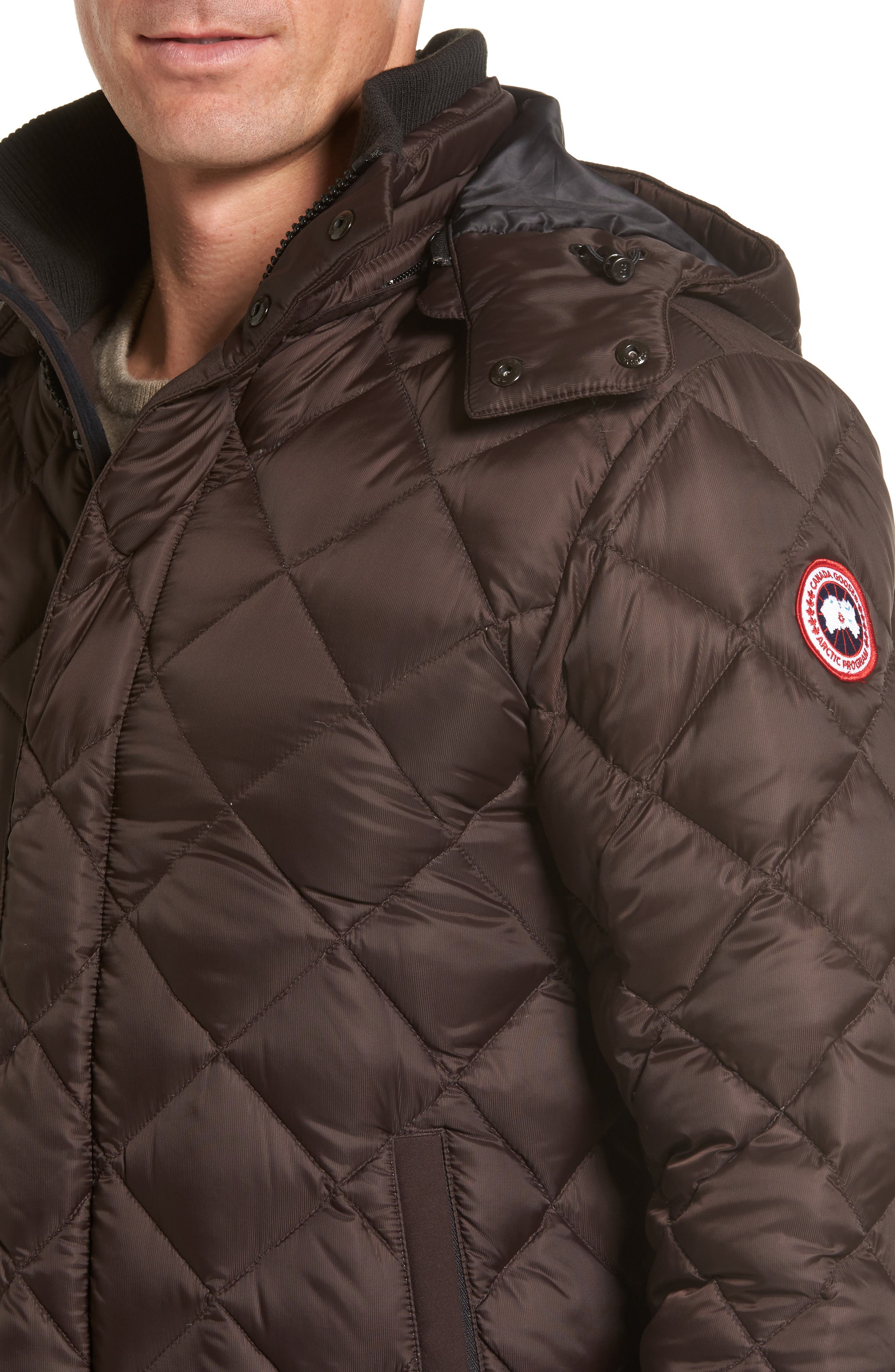 Hendriksen Quilted Down Coat,                             Alternate thumbnail 4, color,                             CHARRED WOOD