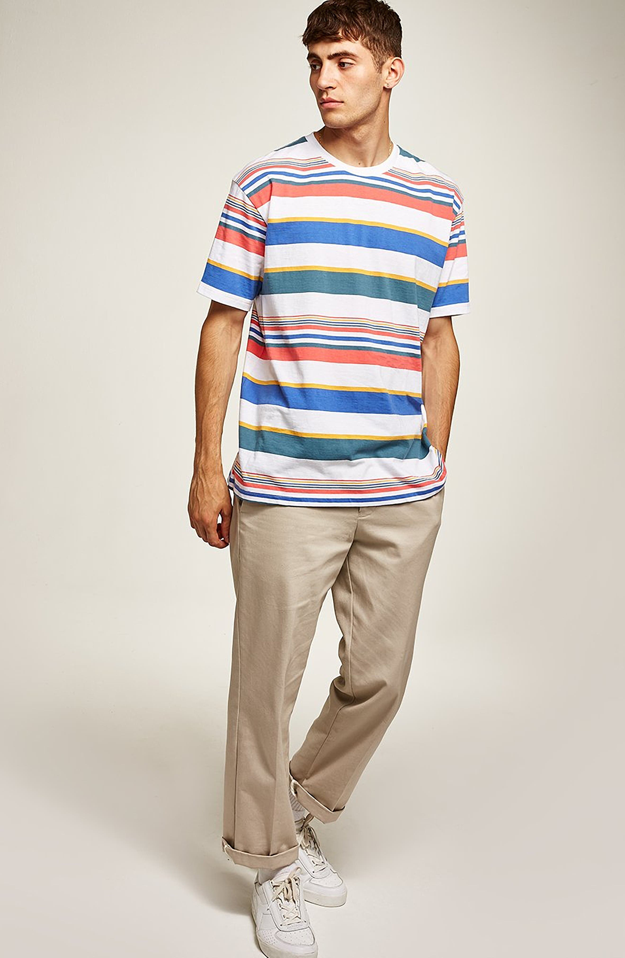Rainbow Stripe T-Shirt,                             Alternate thumbnail 5, color,                             WHITE MULTI