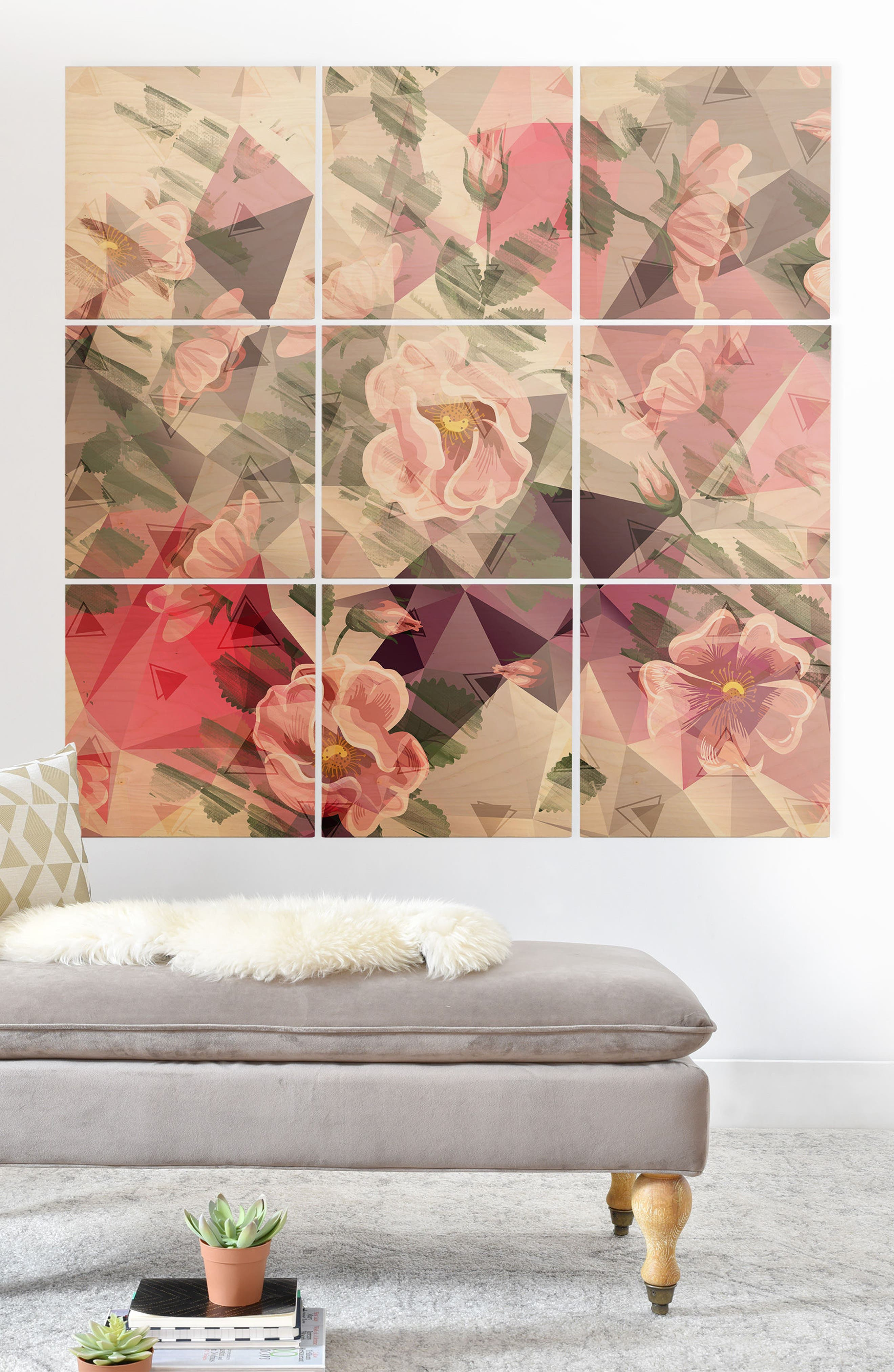 DENY DESIGNS,                             Floral 9-Piece Wood Wall Mural,                             Alternate thumbnail 2, color,                             PINK