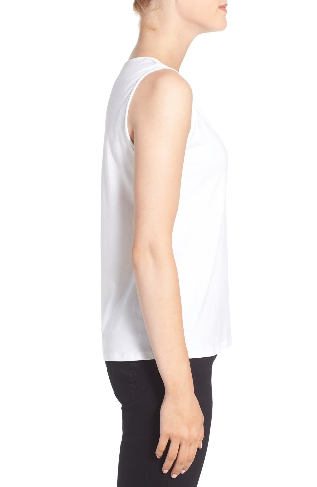 Lightweight Jersey Round Neck Tank,                             Alternate thumbnail 4, color,                             100