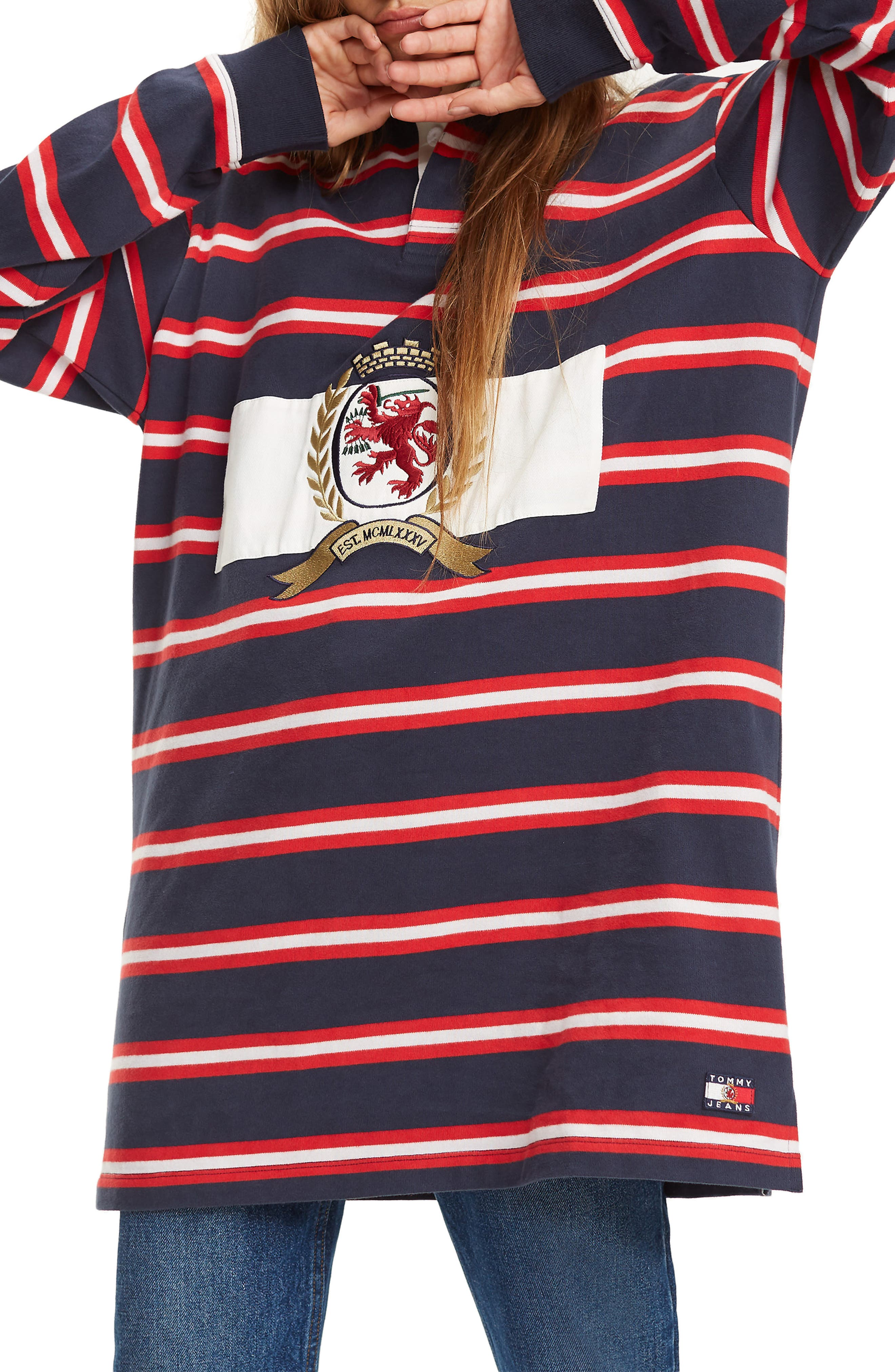 Crest Capsule Stripe Rugby Dress,                             Main thumbnail 1, color,                             DARK SAPPHIRE / MULTI