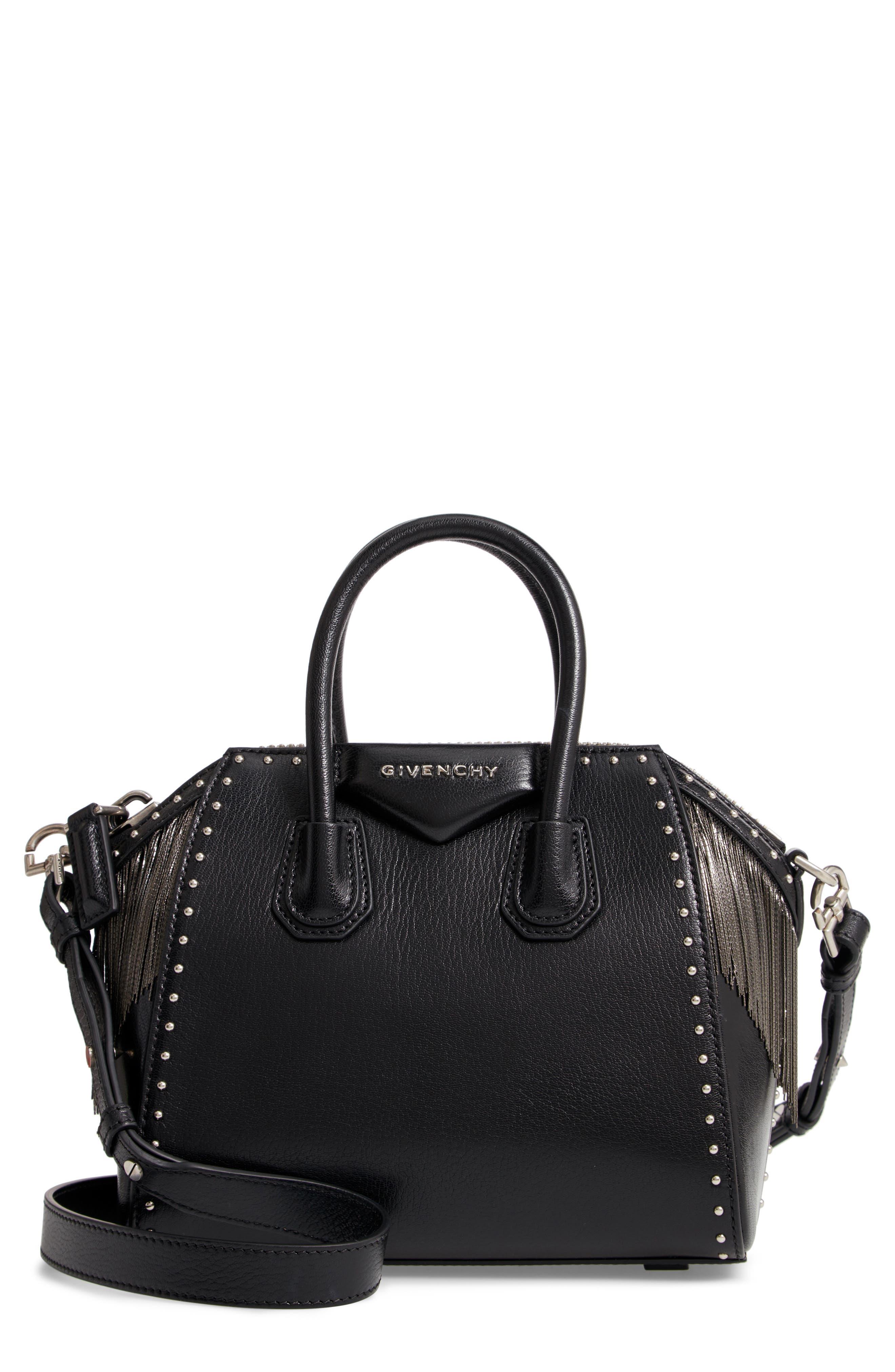 Mini Antigona Fringe & Stud Leather Satchel,                         Main,                         color, BLACK