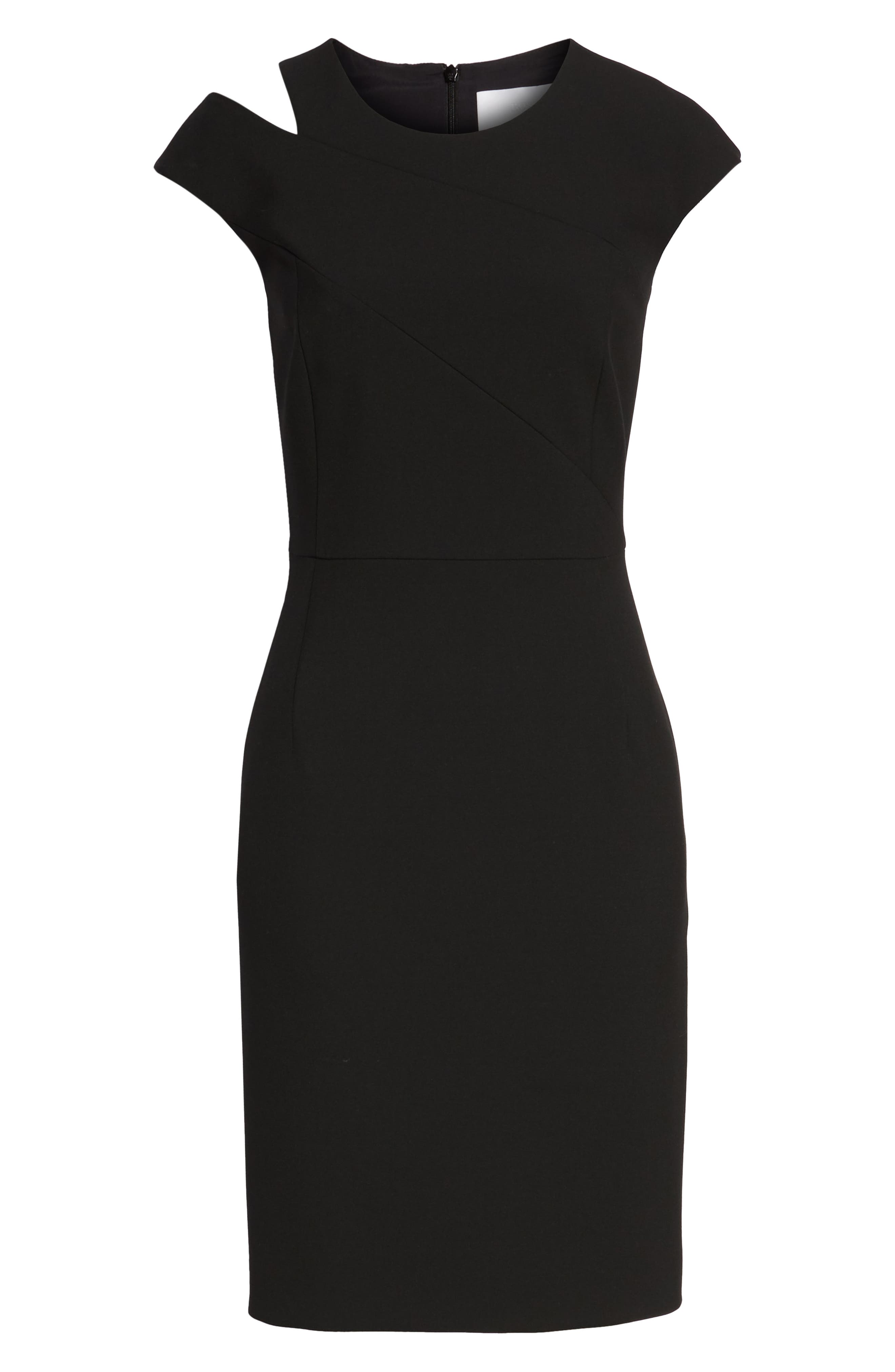 BOSS,                             Danouk Shoulder Cutout Dress,                             Alternate thumbnail 7, color,                             001