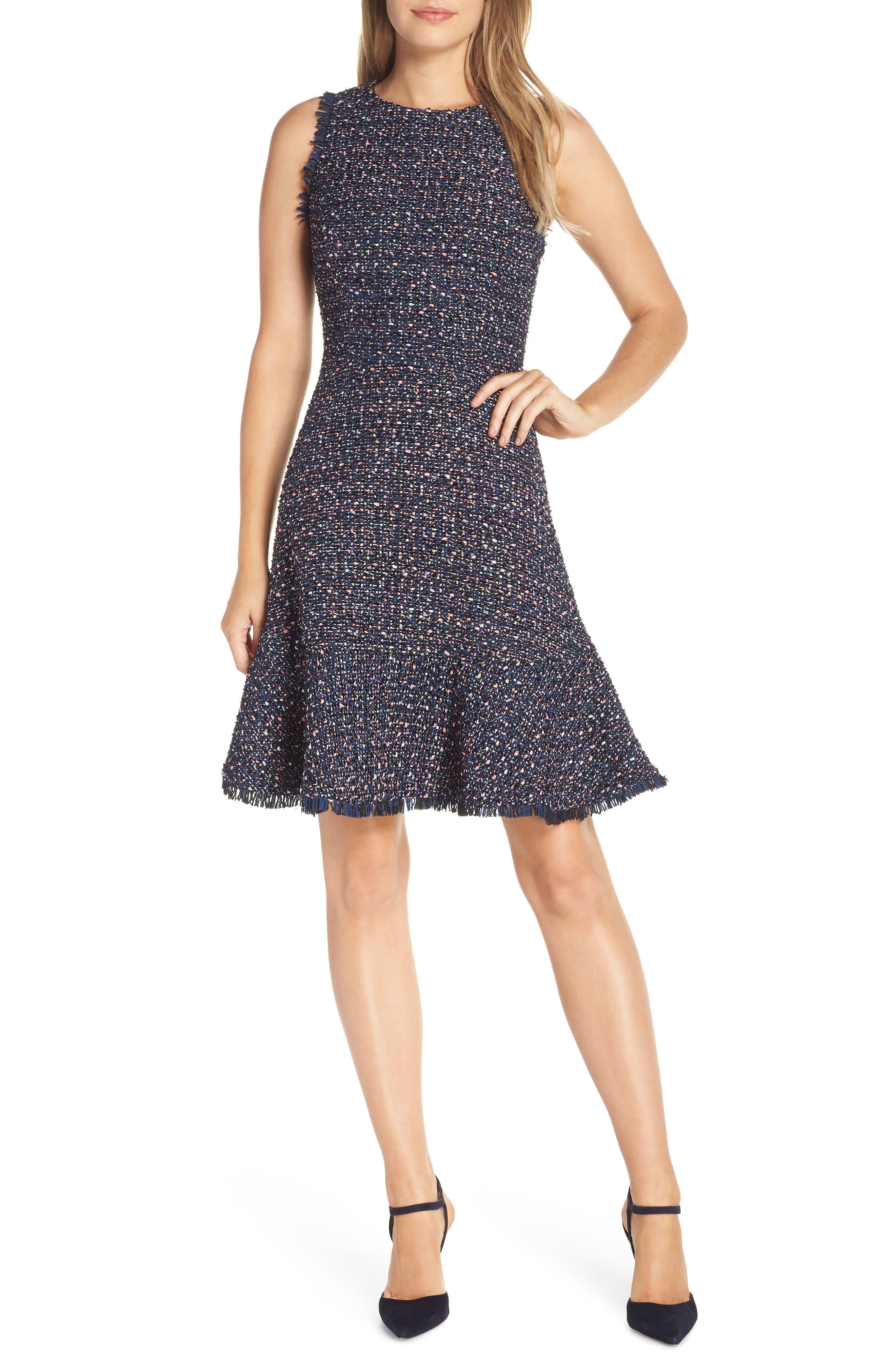 Petite Eliza J Sleeveless Tweed Fit & Flare Dress, Blue