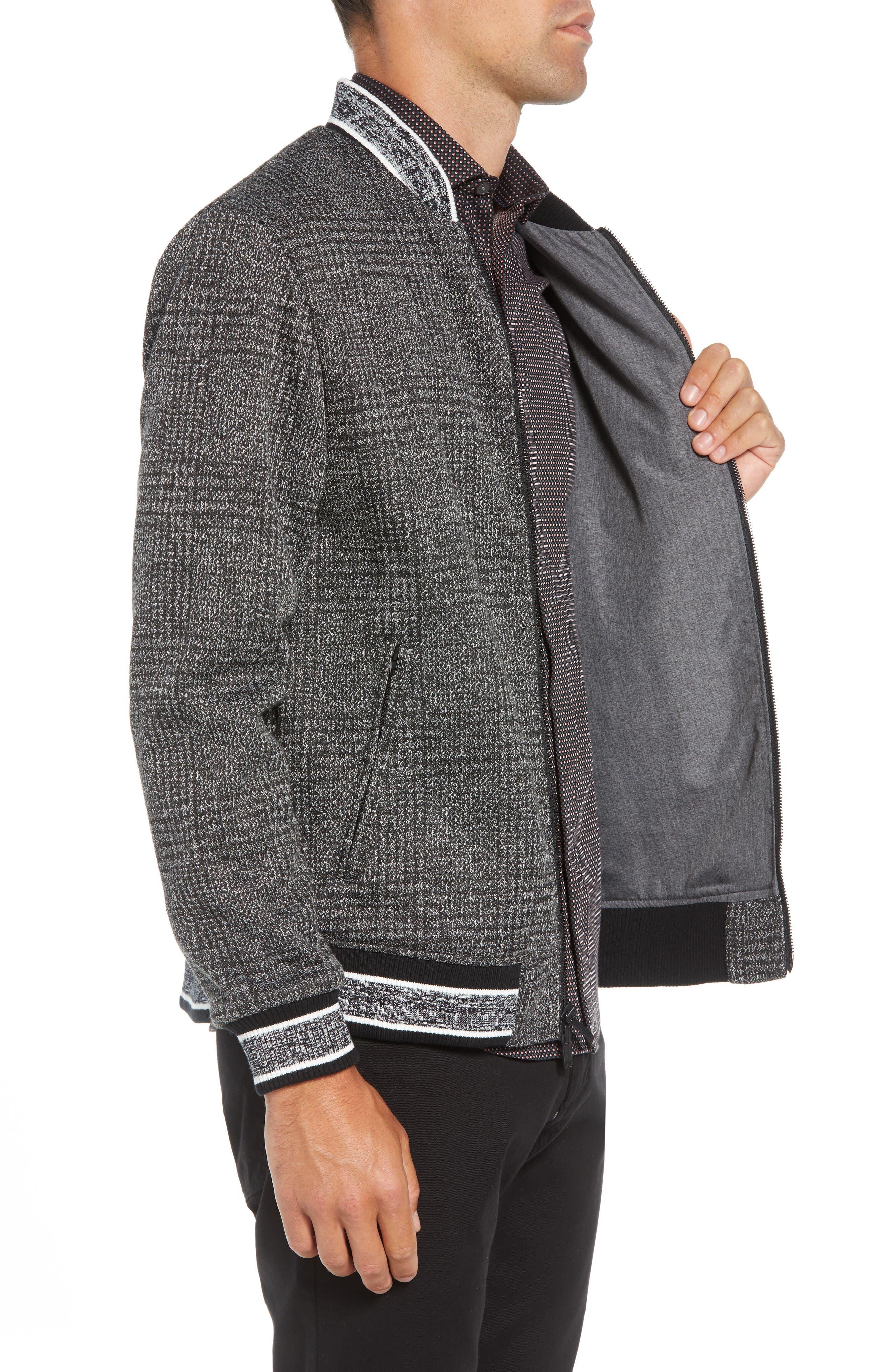 Slim Fit Plaid Knit Bomber Jacket,                             Alternate thumbnail 3, color,                             CHARCOAL PLAID