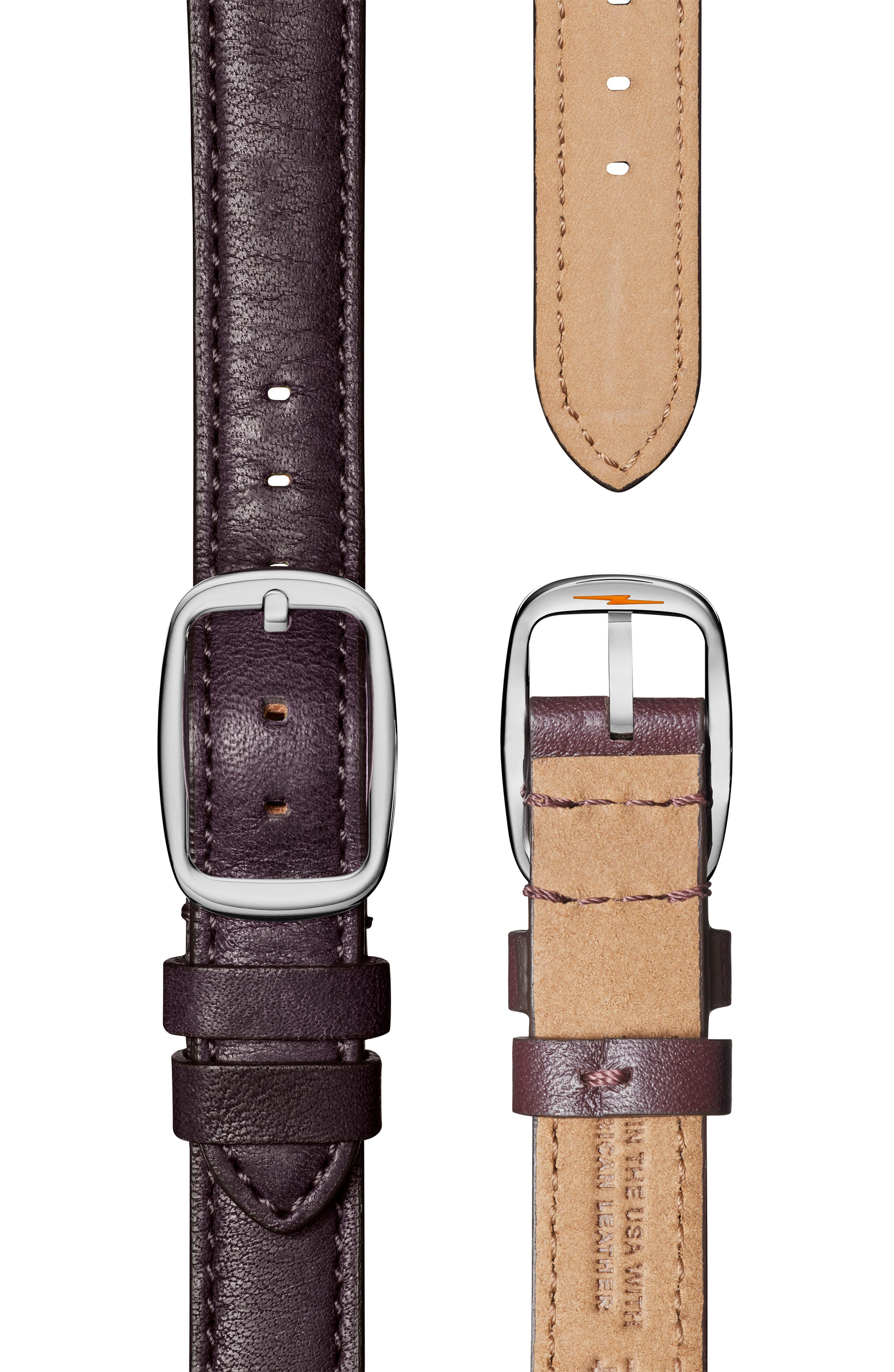 'The Canfield Chrono' Leather Strap Watch, 38mm,                             Alternate thumbnail 5, color,                             PURPLE/ PLUM MOP/ SILVER