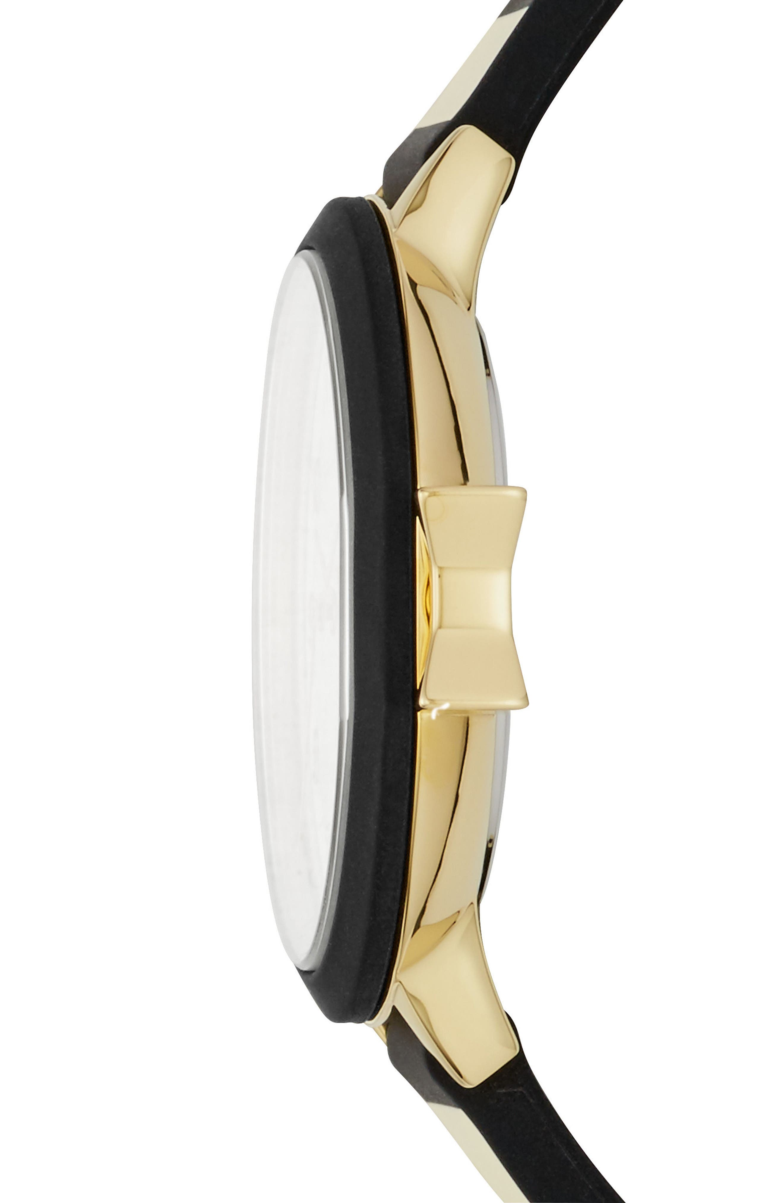 park row silicone strap watch, 34mm,                             Alternate thumbnail 2, color,                             BLACK/ GOLD/ BLACK