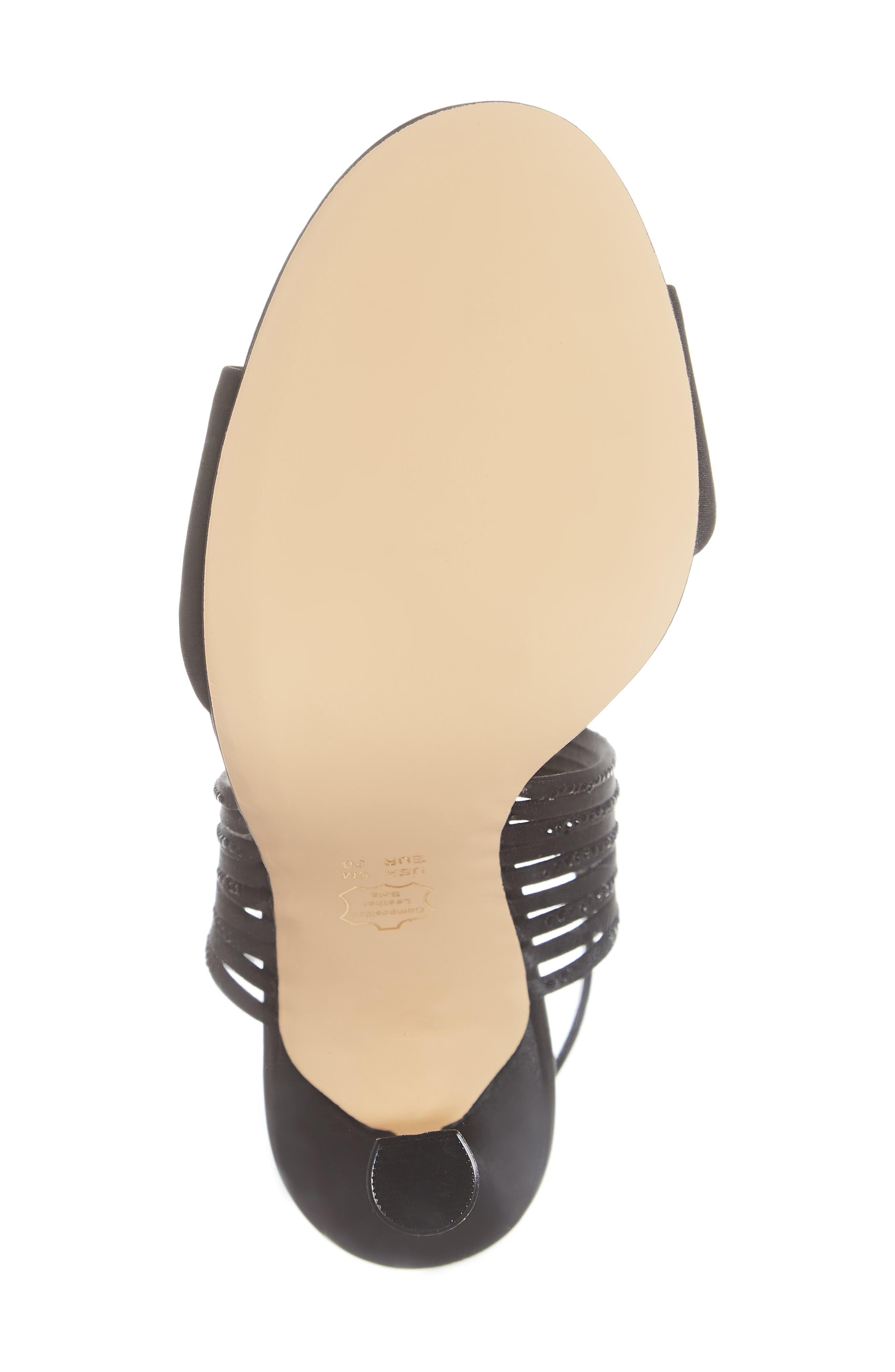 Damaris Crystal Embellished Sandal,                             Alternate thumbnail 6, color,                             BLACK SATIN