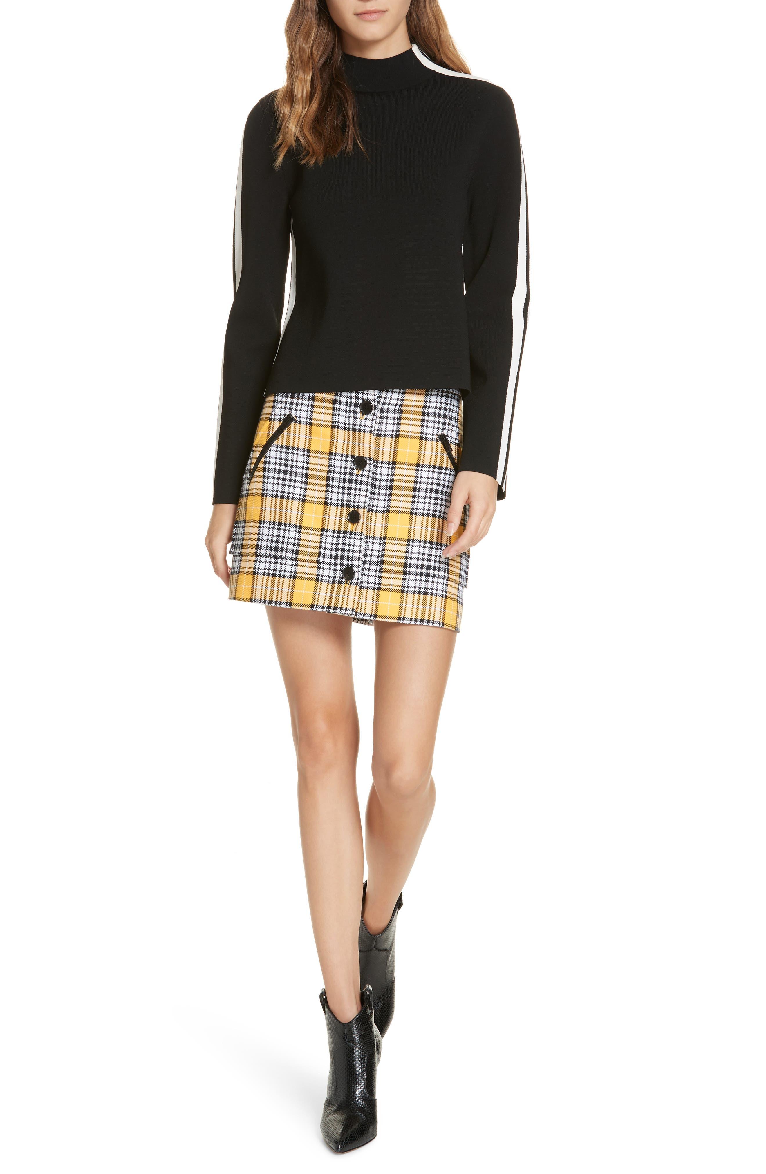 Retha Side Stripe Sweater,                             Alternate thumbnail 7, color,                             BLACK
