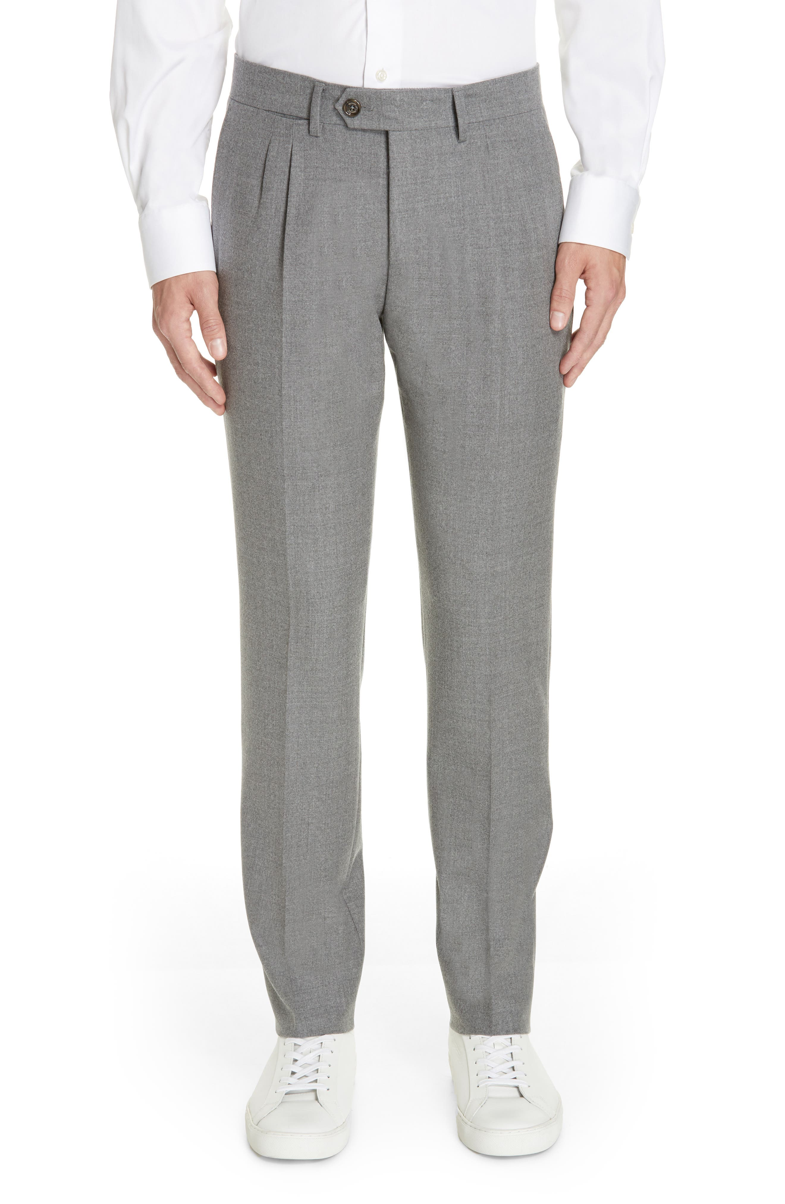 Slim Fit Pleated Stretch Wool Trousers,                             Main thumbnail 1, color,                             MID GREY