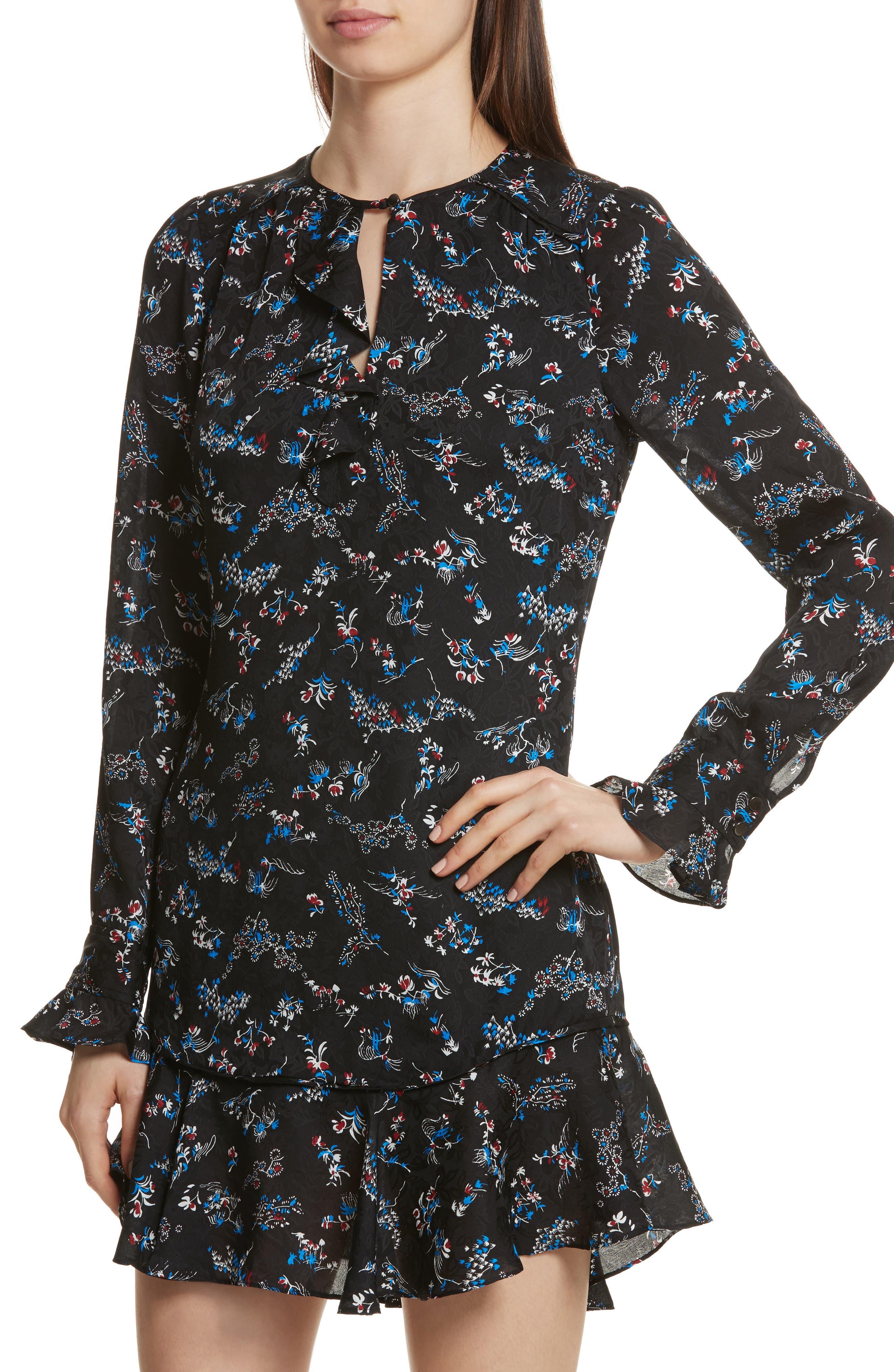 Preston Floral Print Silk Dress,                             Alternate thumbnail 4, color,                             001