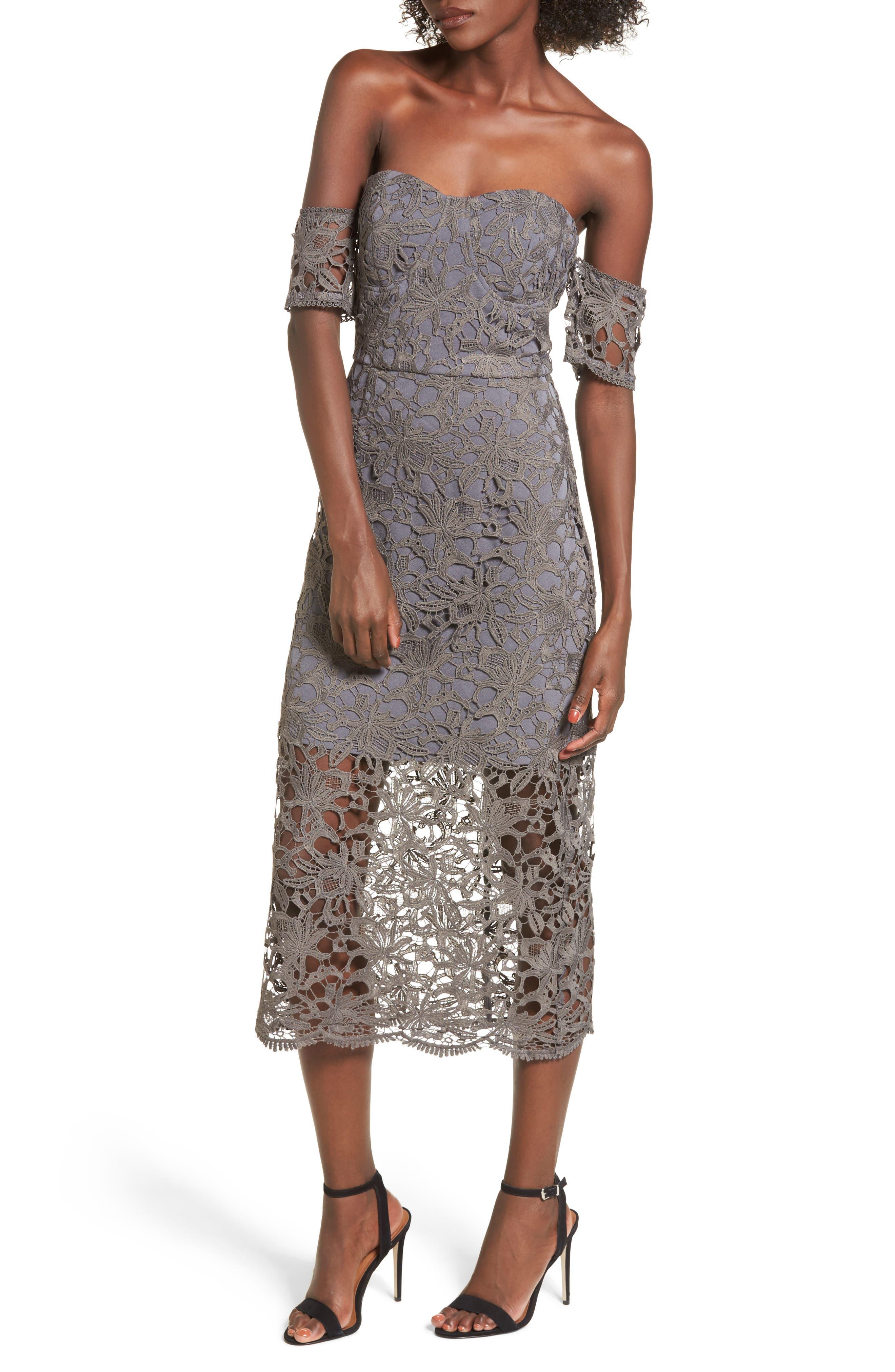 Off the Shoulder Lace Midi Dress,                             Main thumbnail 1, color,