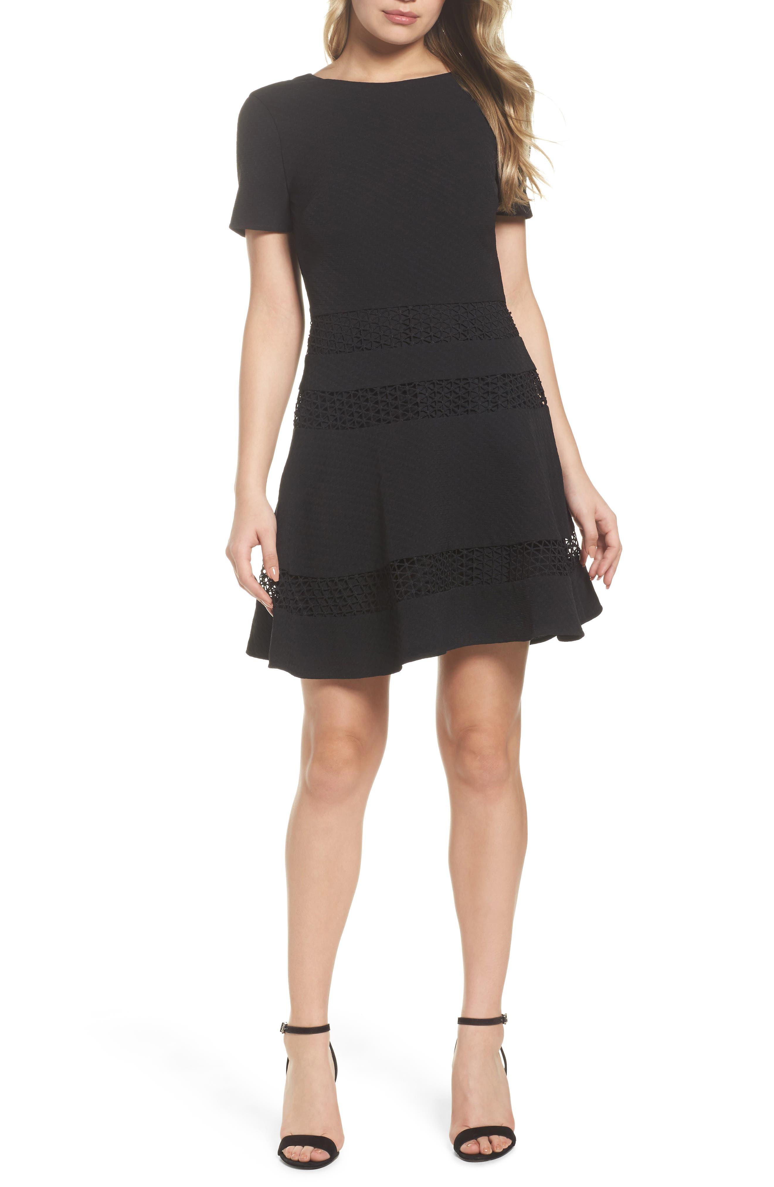 Mixed Media Fit & Flare Dress,                             Main thumbnail 1, color,                             BLACK