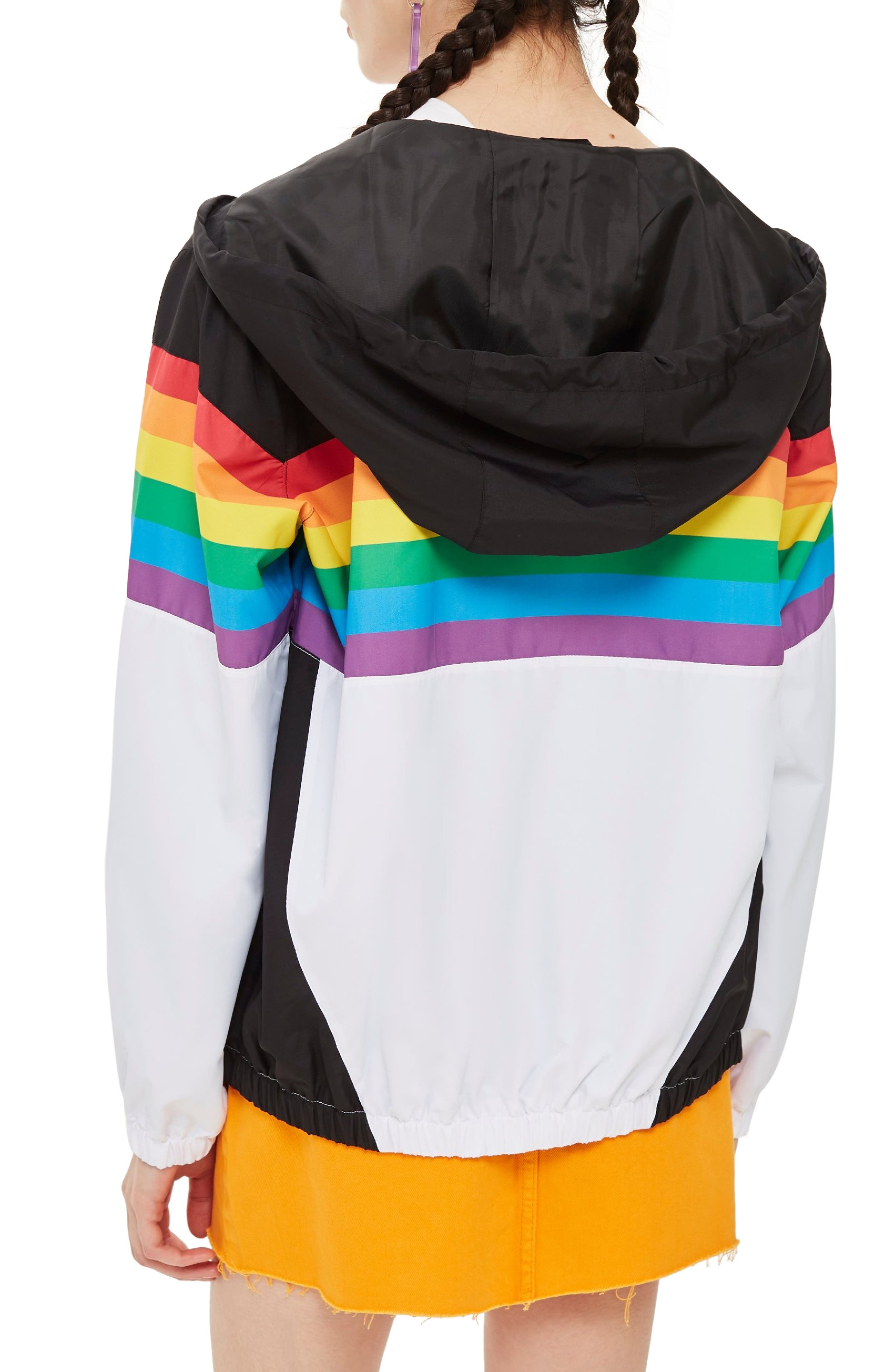 Rainbow Windbreaker,                             Alternate thumbnail 2, color,                             WHITE MULTI