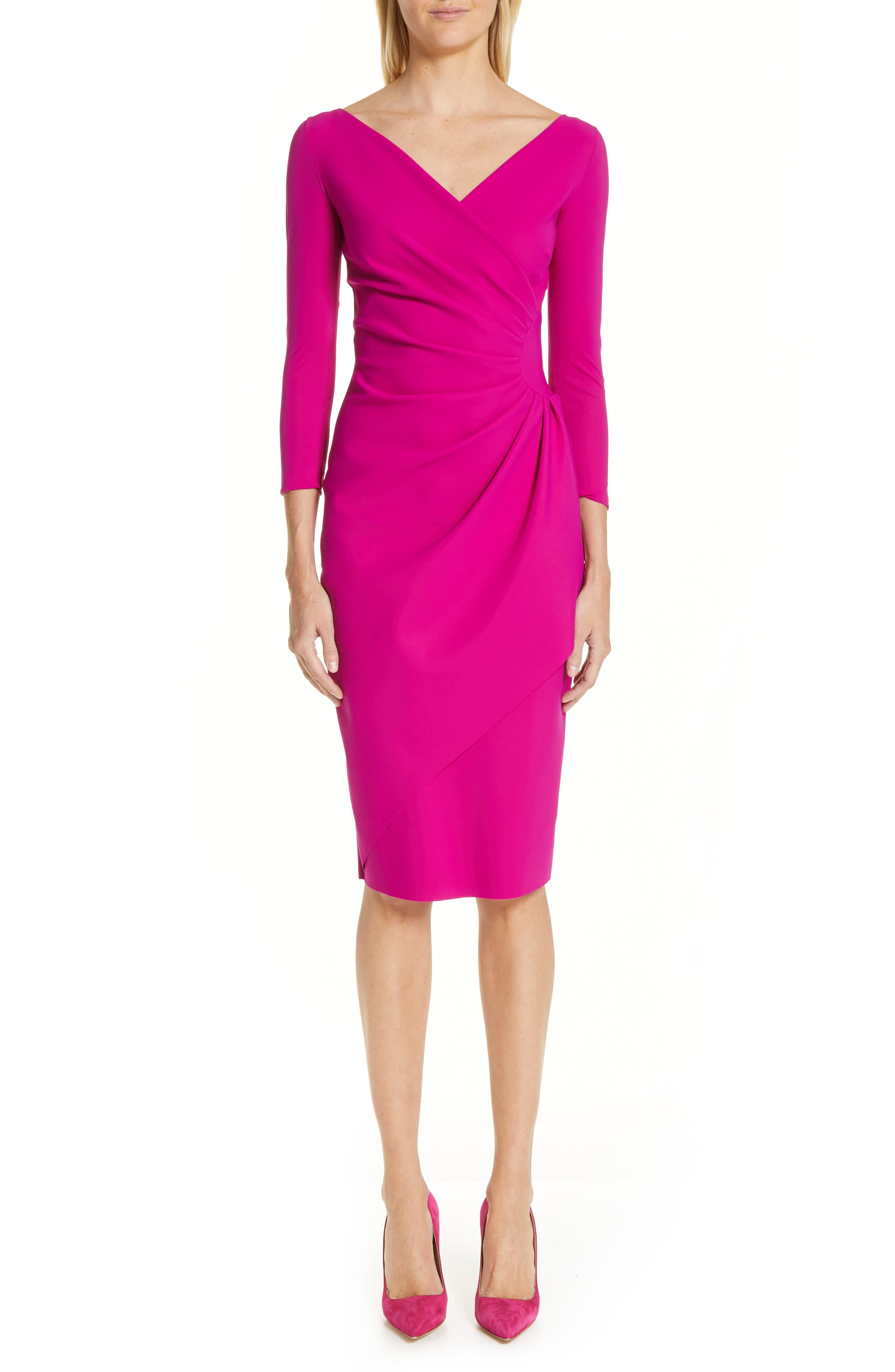 Chiara Boni La Petite Robe Charisse Ruched Long Sleeve Cocktail Dress, 8 IT - Pink
