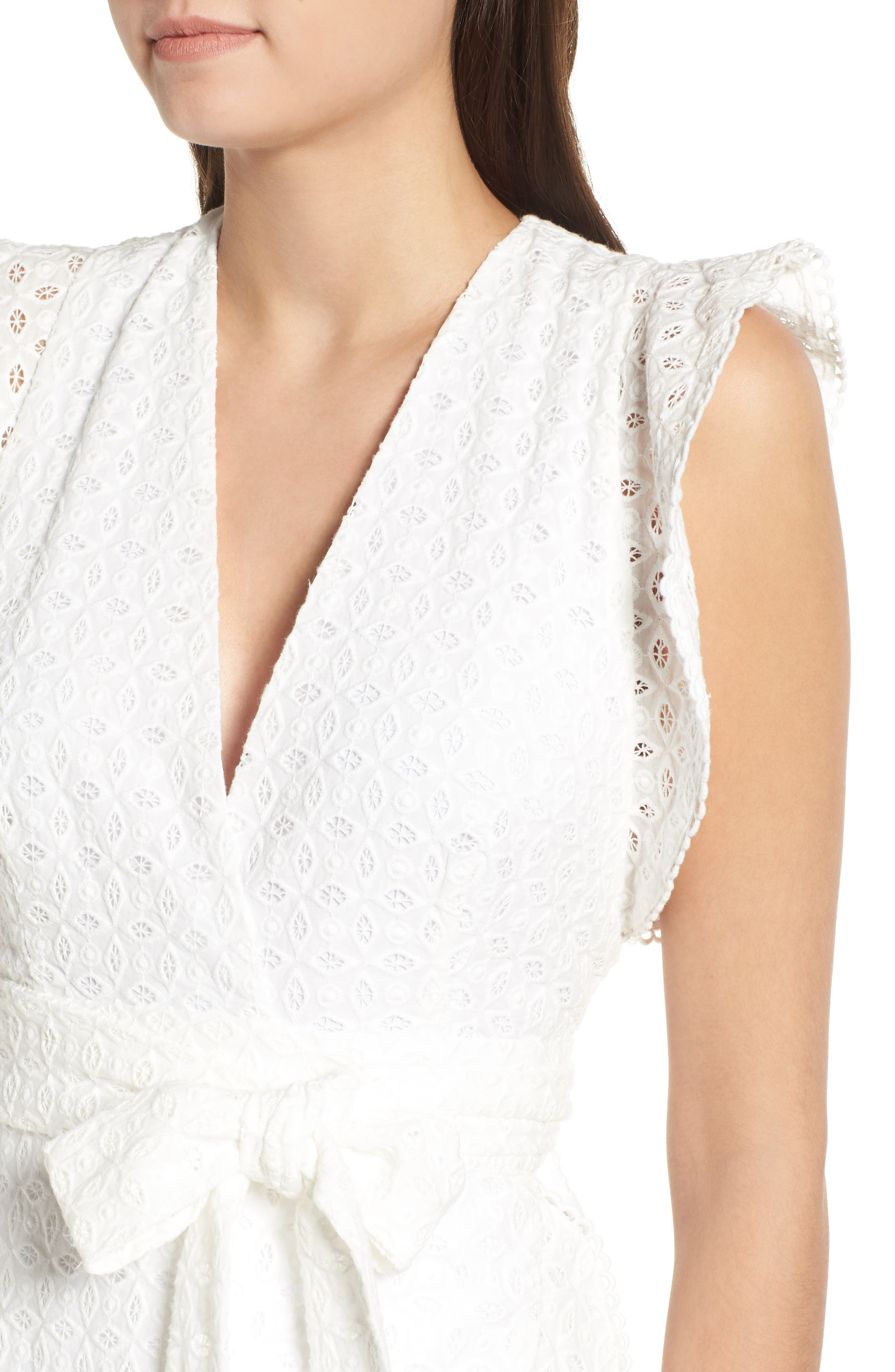 Andrea Ruffle Wrap Dress,                             Alternate thumbnail 4, color,                             101