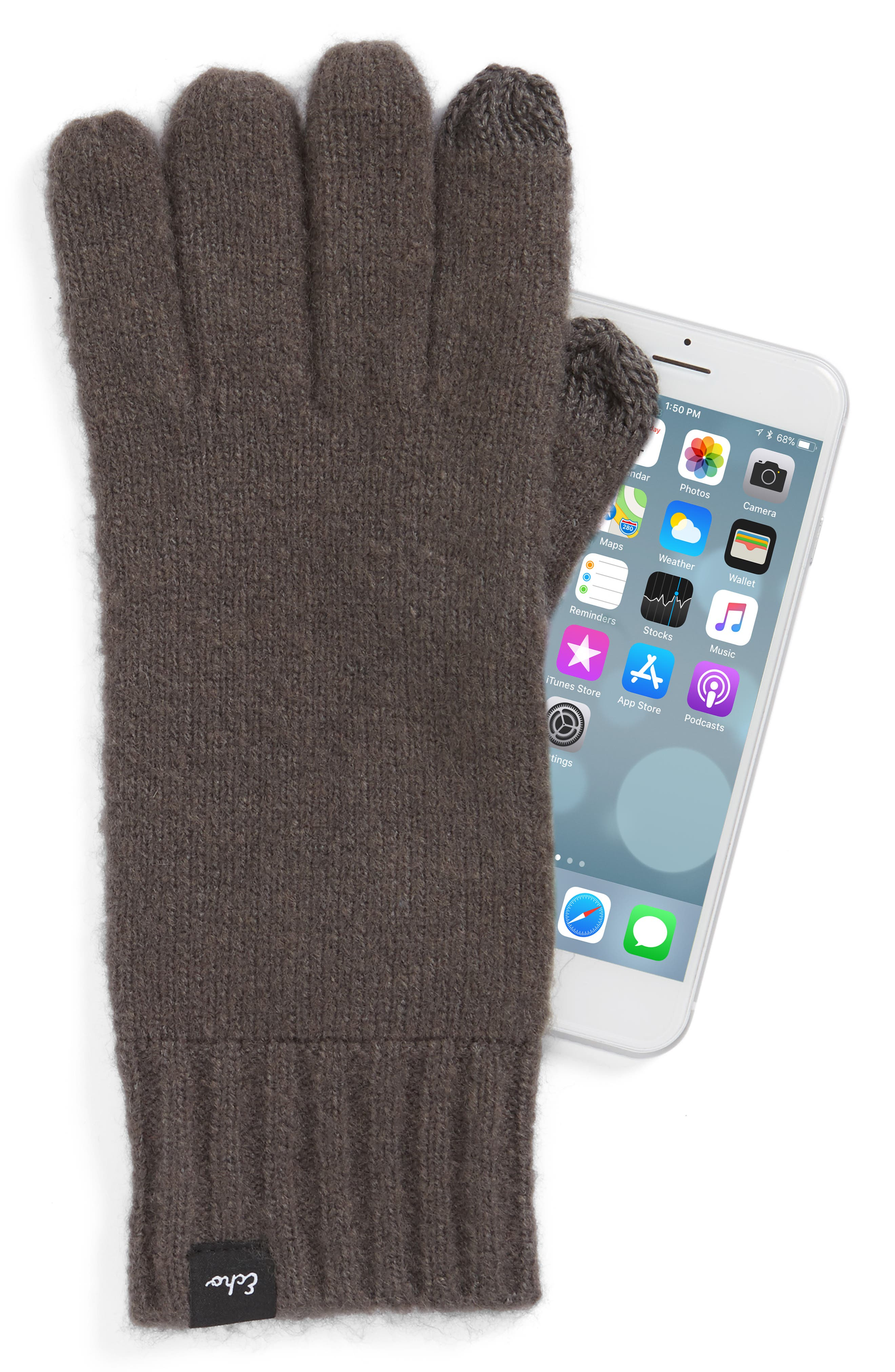 'Touch' Stretch Fleece Tech Gloves,                             Alternate thumbnail 2, color,                             011