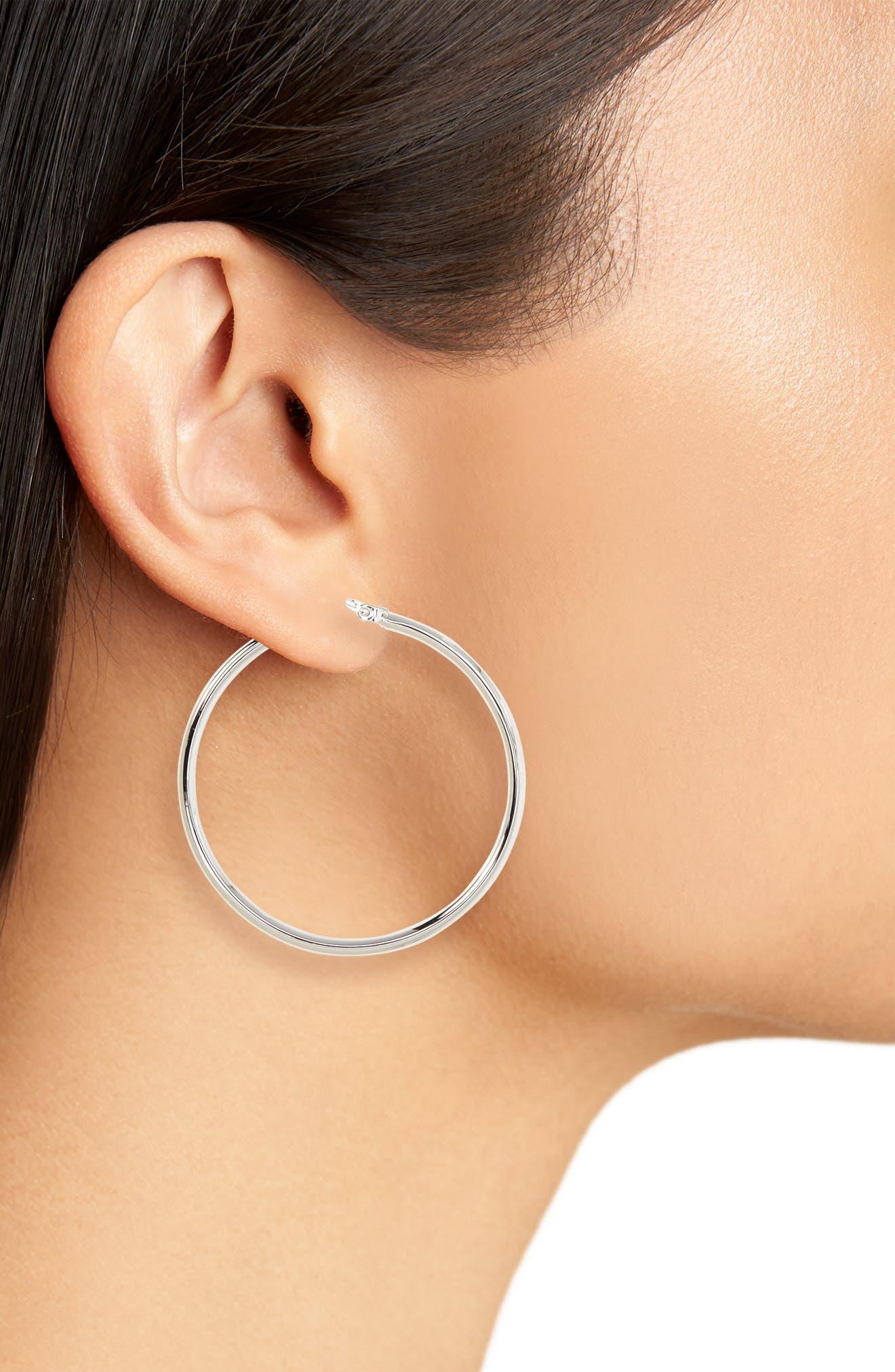 Hoop Earrings,                             Alternate thumbnail 2, color,                             WHITE GOLD