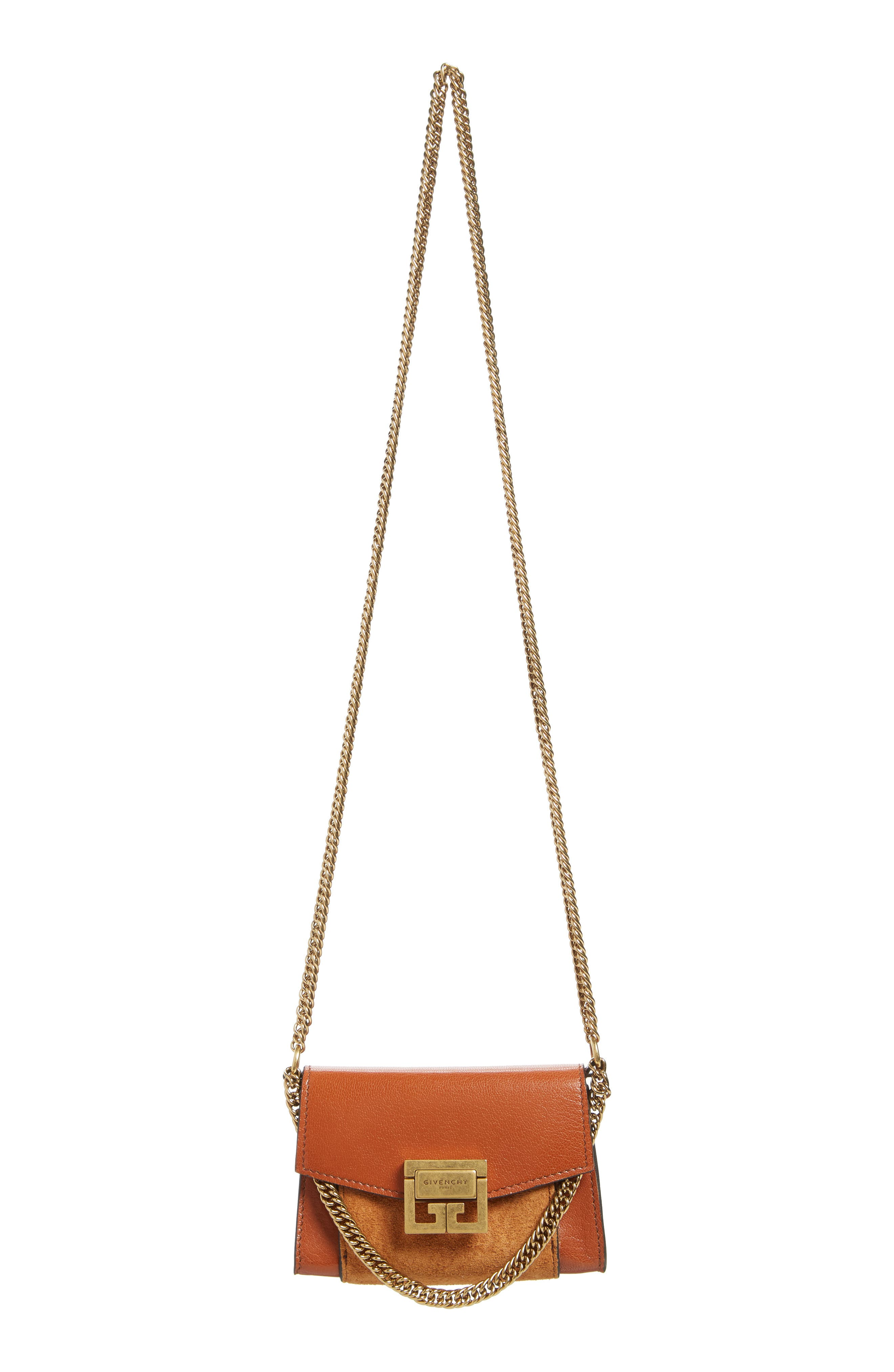 Givency Nano GV3 Leather & Suede Crossbody Bag,                             Alternate thumbnail 2, color,                             CHESTNUT