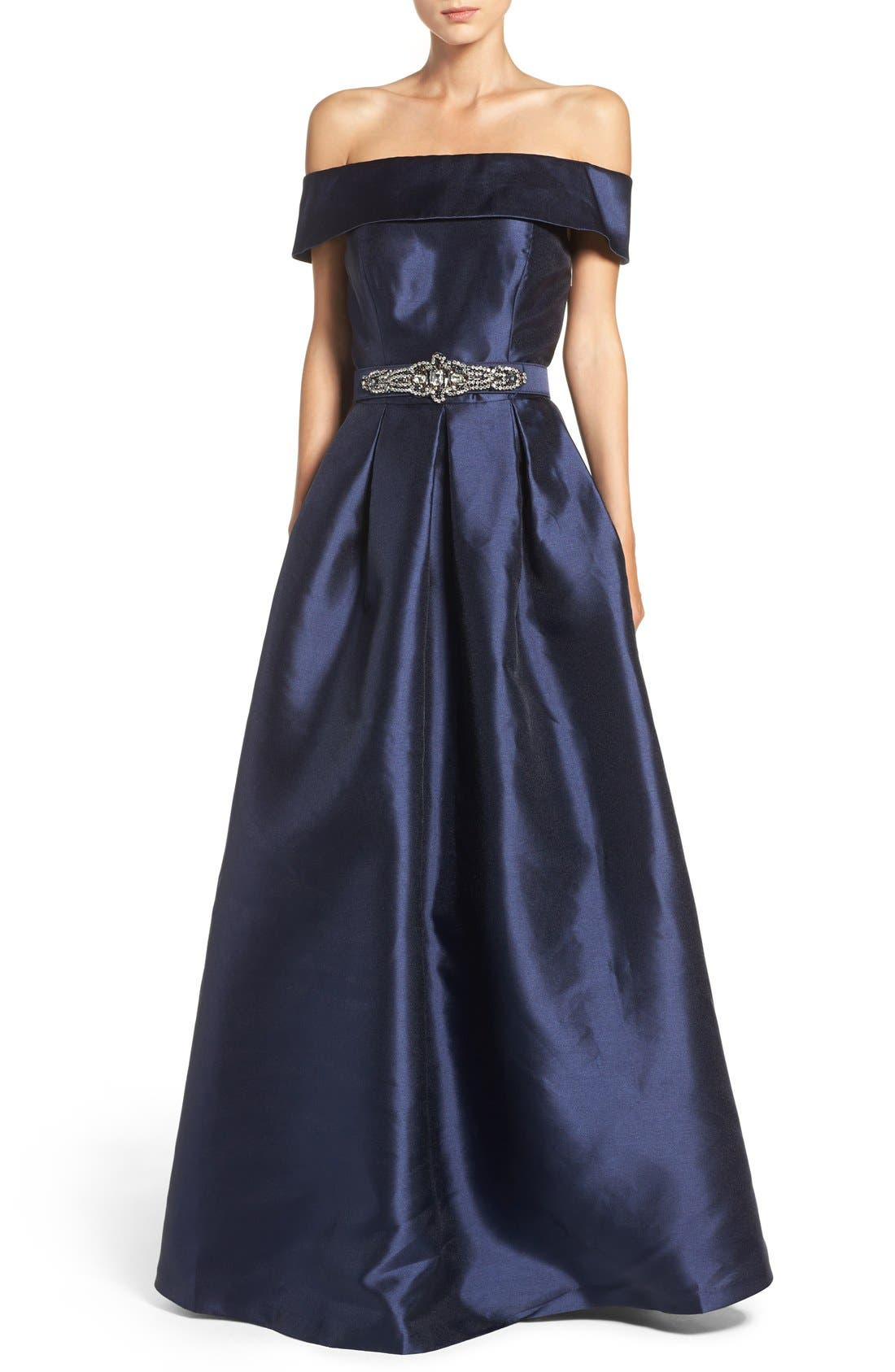 Belted Mikado Ballgown,                         Main,                         color, 410