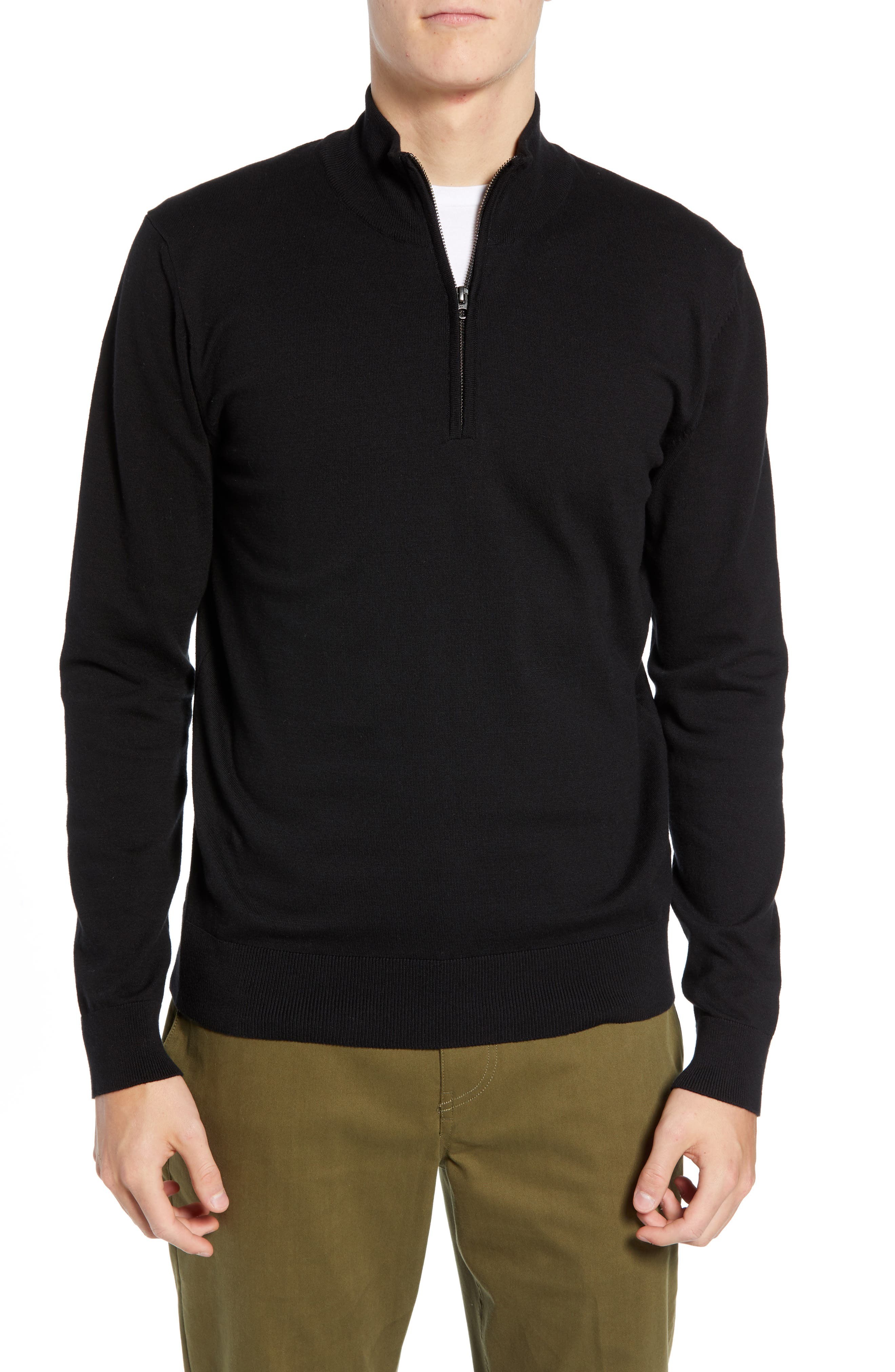 French Connection Stretch Cotton Quarter Zip Sweater, Black