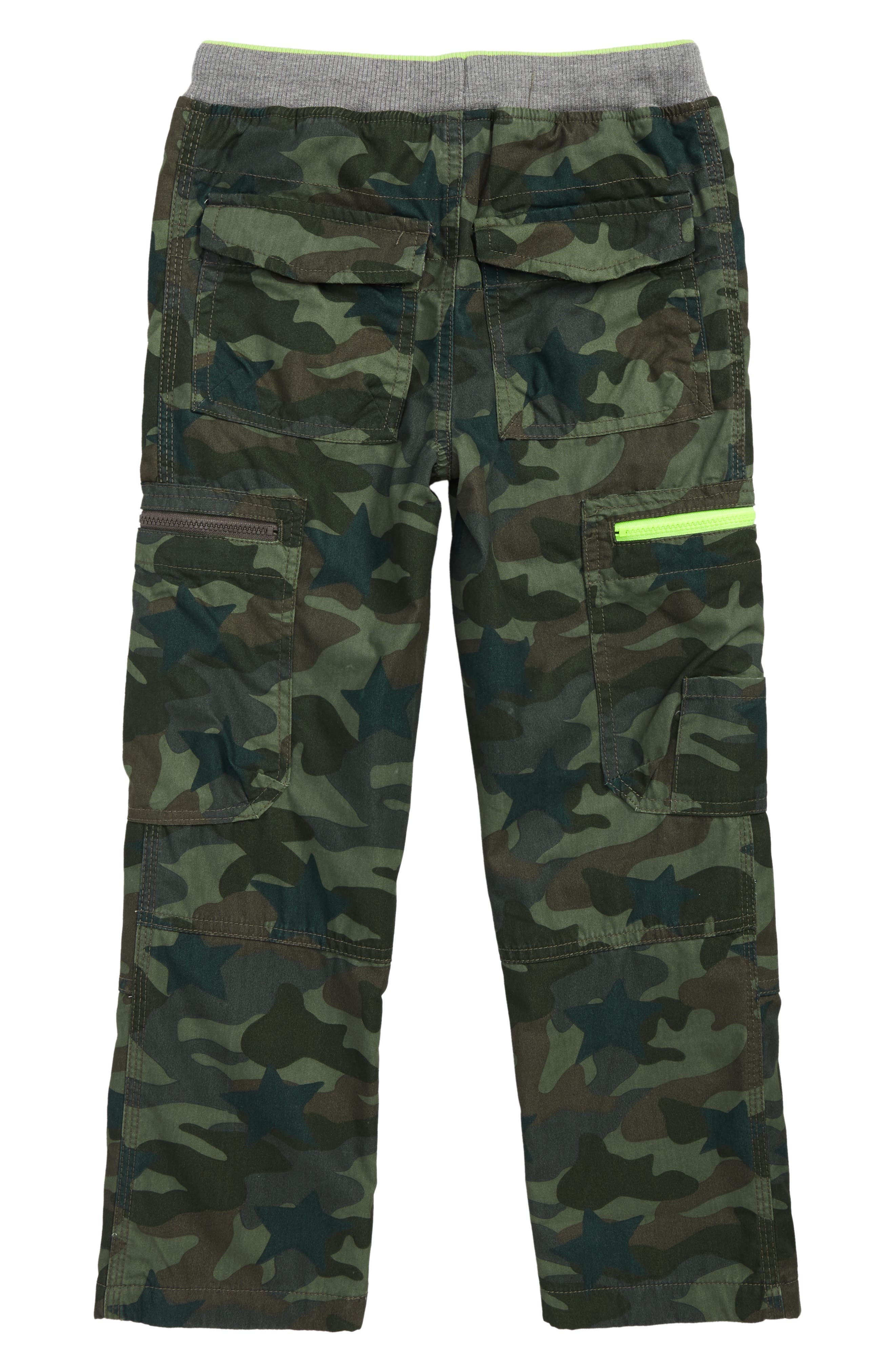 Cargo Pull On Pants,                             Alternate thumbnail 2, color,                             KHAKI GREEN CAMOFLAGE STAR