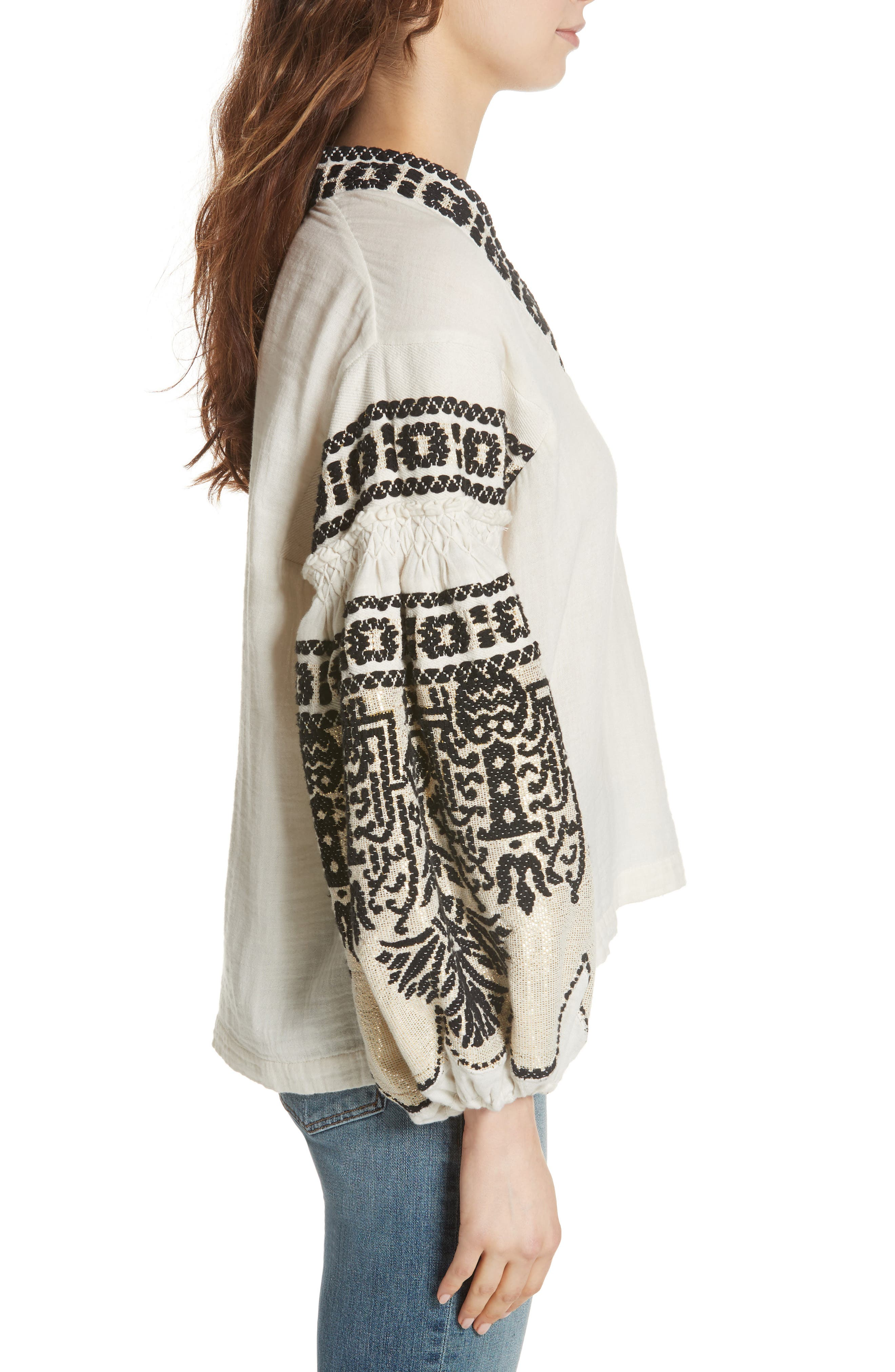 Petra Embroidered Blouse,                             Alternate thumbnail 3, color,                             IVORY