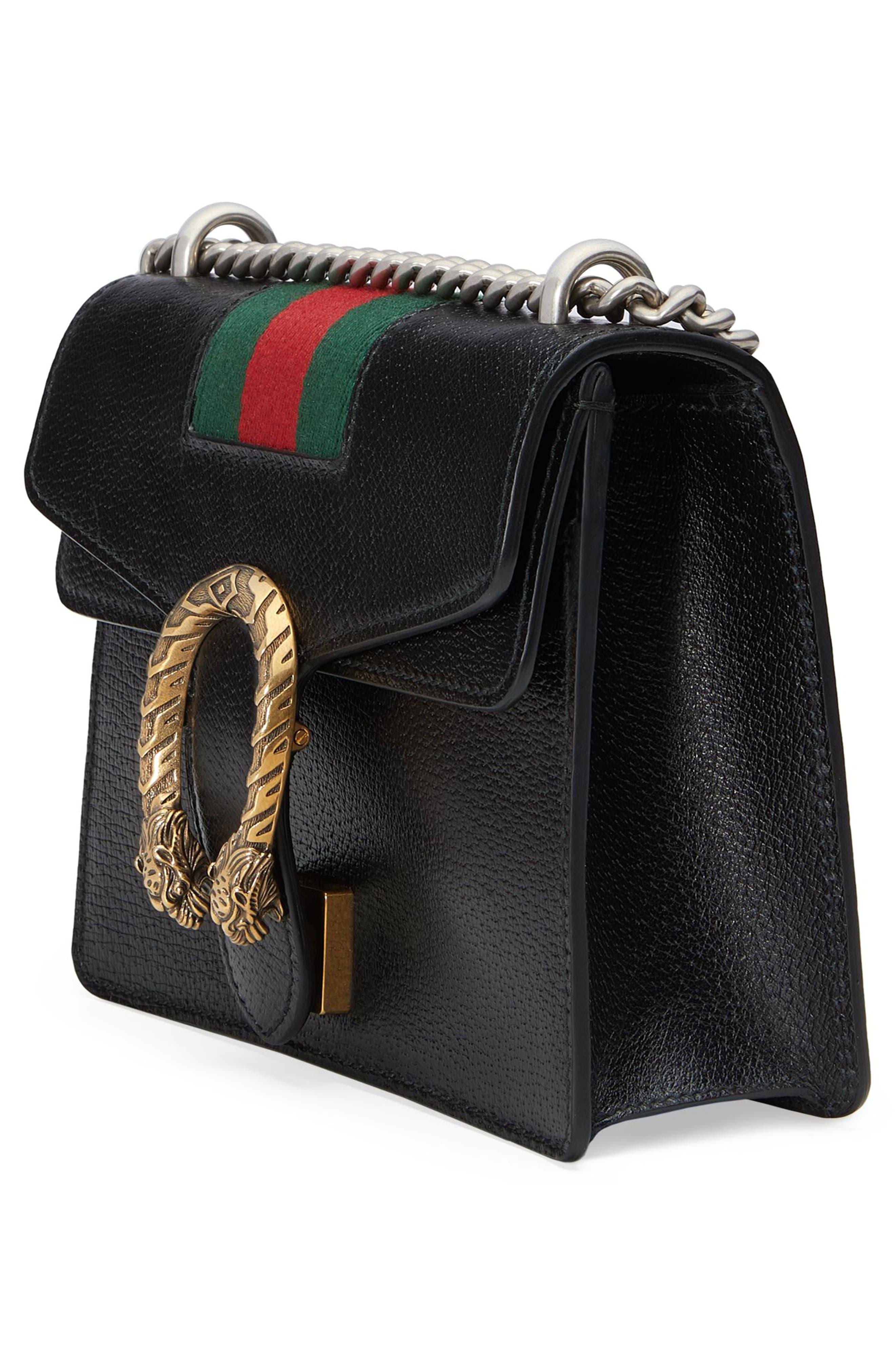 Small Dionysus House Web Leather Shoulder Bag,                             Alternate thumbnail 4, color,                             001