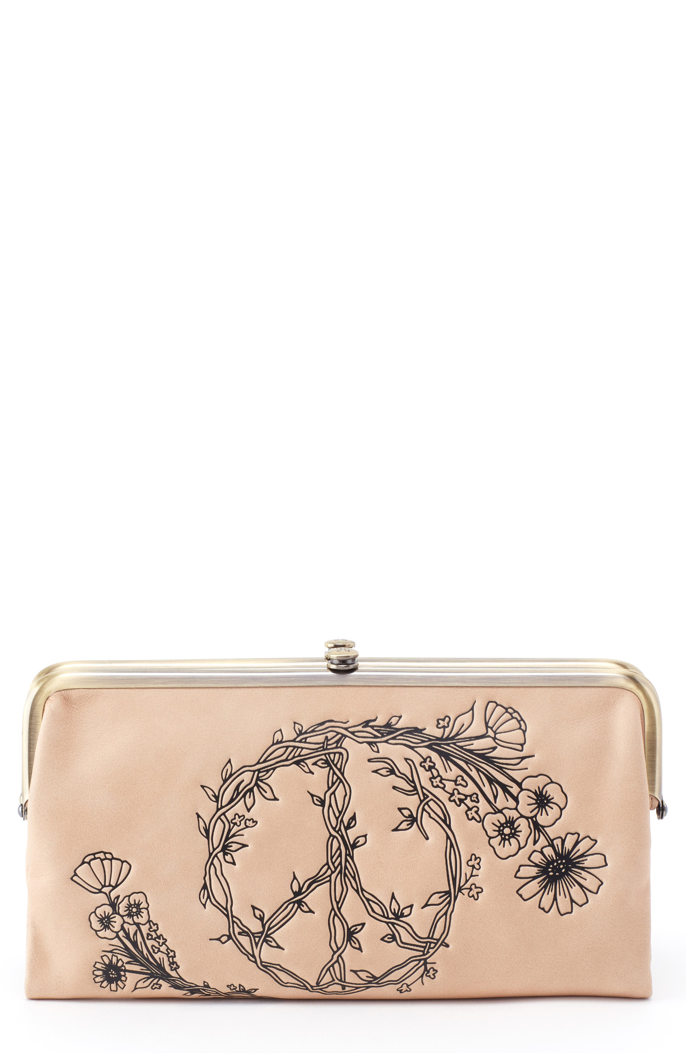 HOBO,                             Lauren Floral Peace Leather Clutch,                             Main thumbnail 1, color,                             PARCHMENT