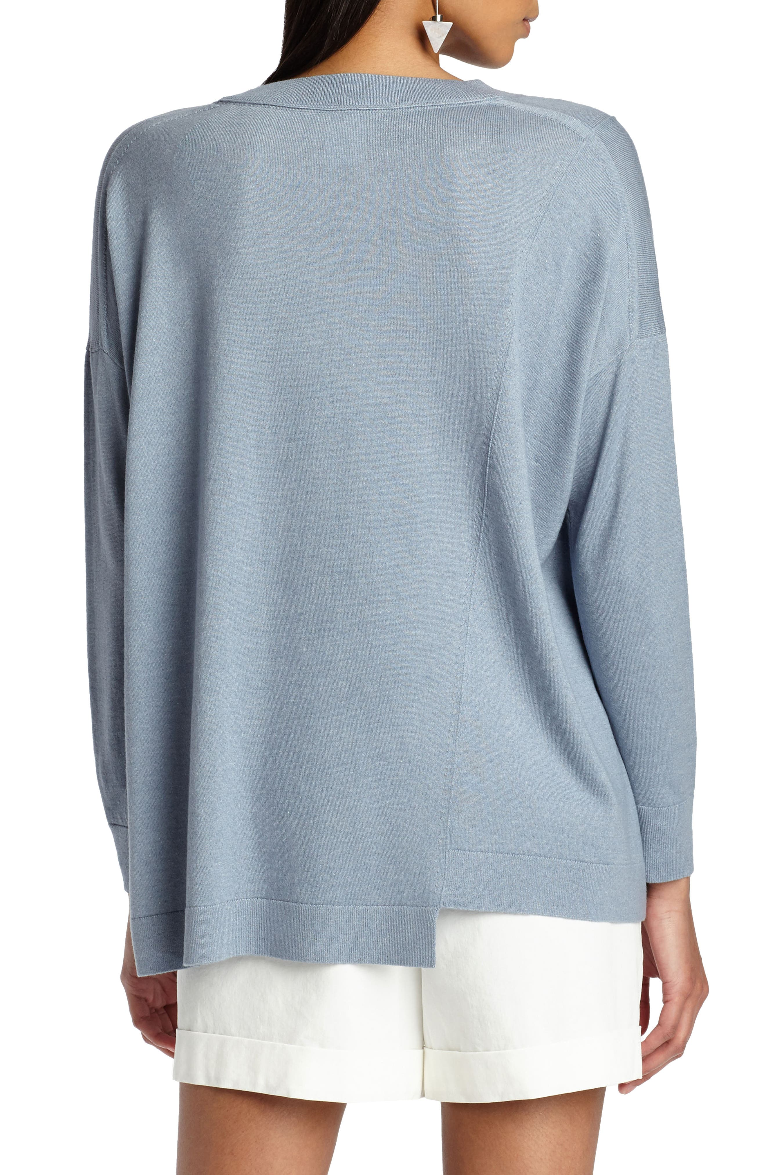 Asymmetrical Cashmere & Silk Blend Sweater,                             Alternate thumbnail 2, color,