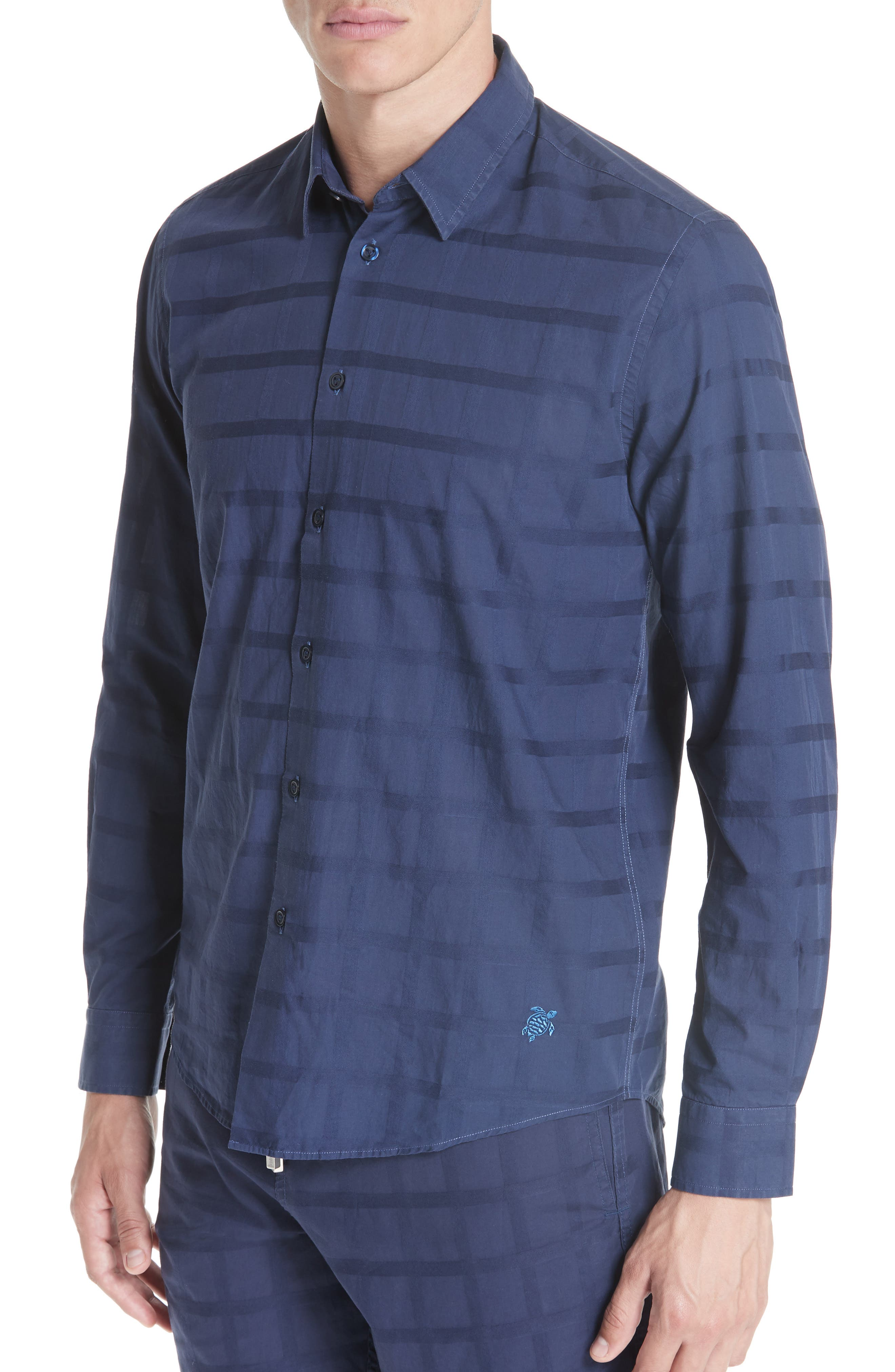 Check Voile Sport Shirt,                         Main,                         color, BLUE