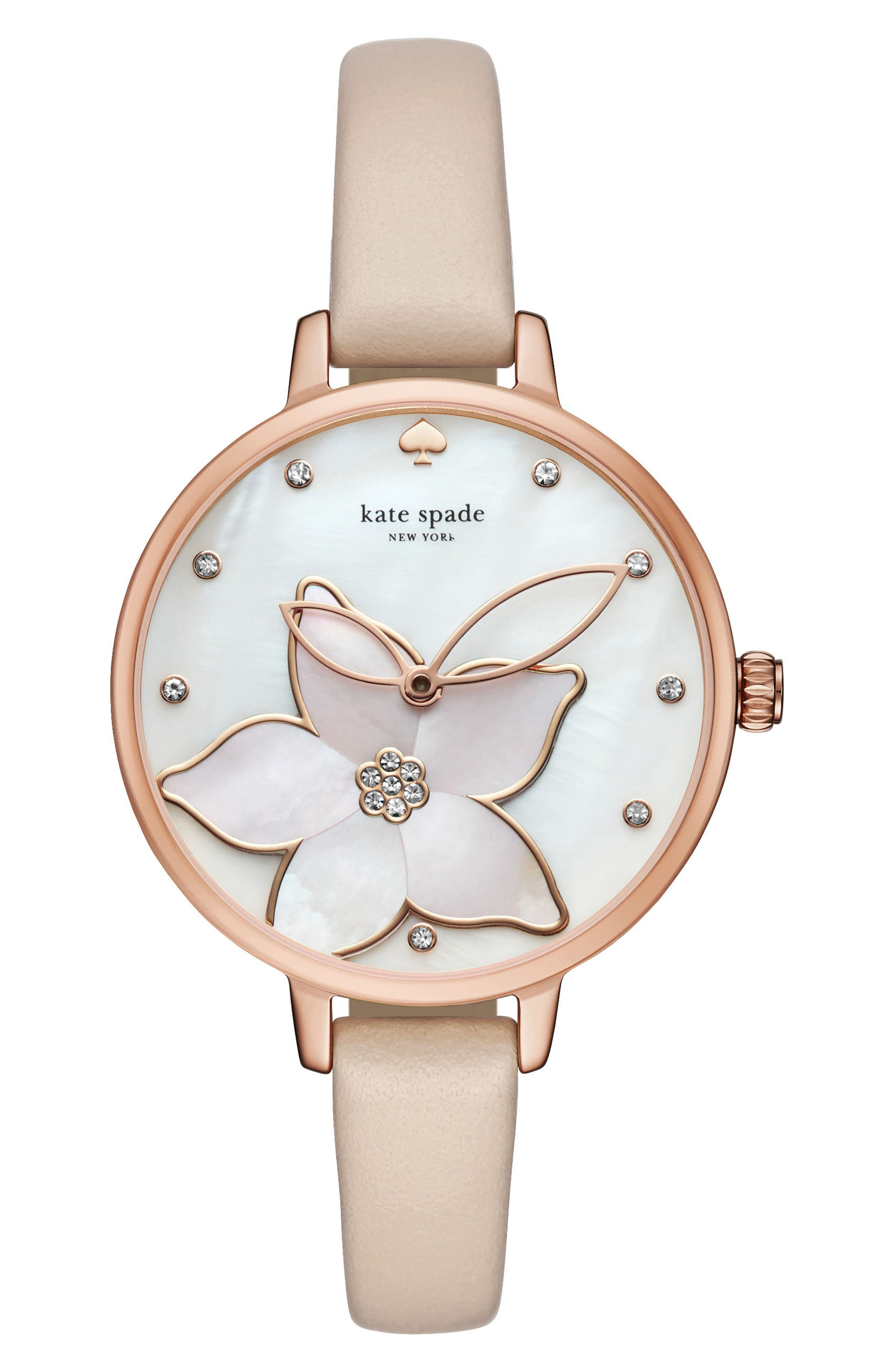 flower leather strap watch, 34mm,                             Main thumbnail 1, color,                             VACHETTA/ MOP/ PINK/ ROSE GOLD