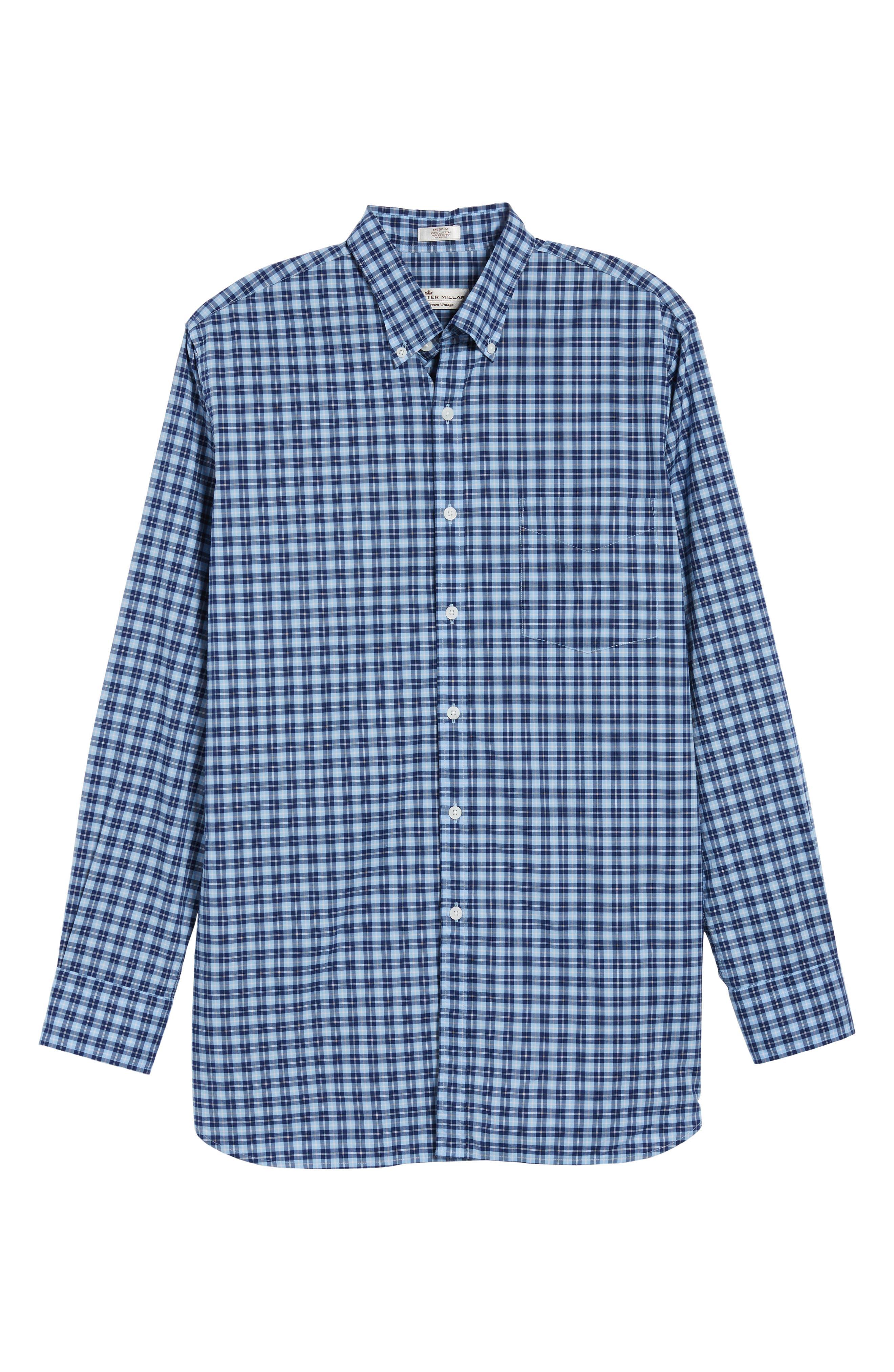 Crown Vintage Regular Fit Mini Plaid Sport Shirt,                             Alternate thumbnail 6, color,                             439