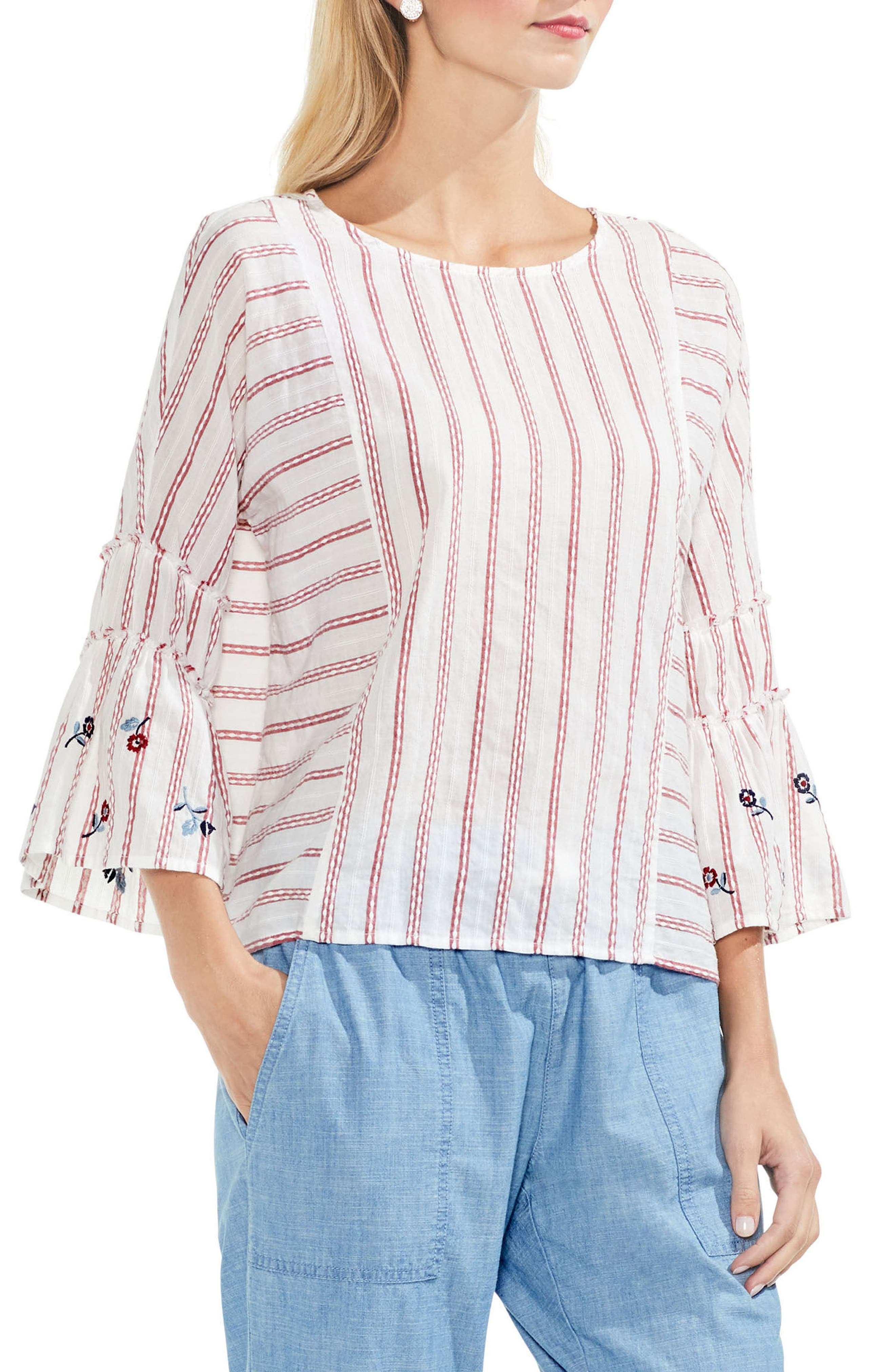 Ruffle Bell Sleeve Stripe Embroidered Blouse,                             Main thumbnail 2, color,