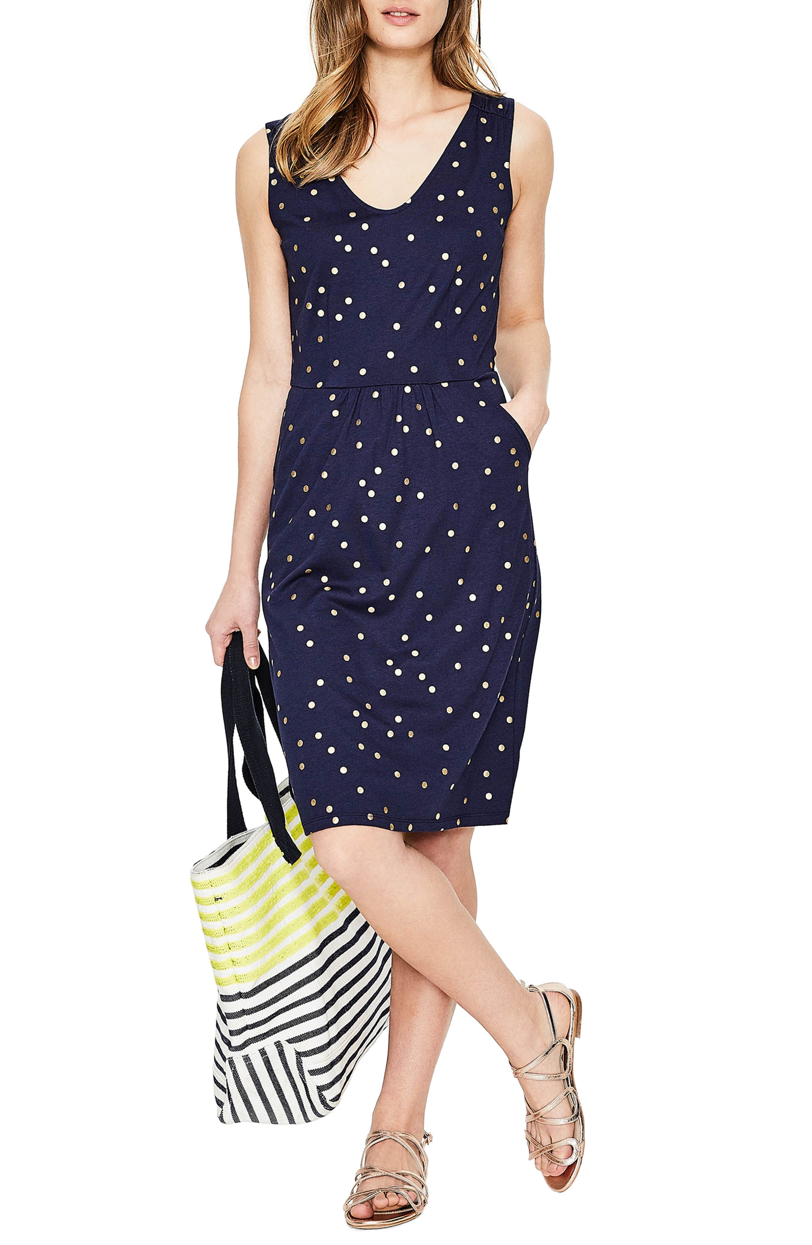 Melinda Metallic Dot Jersey Sheath Dress,                         Main,                         color, 414