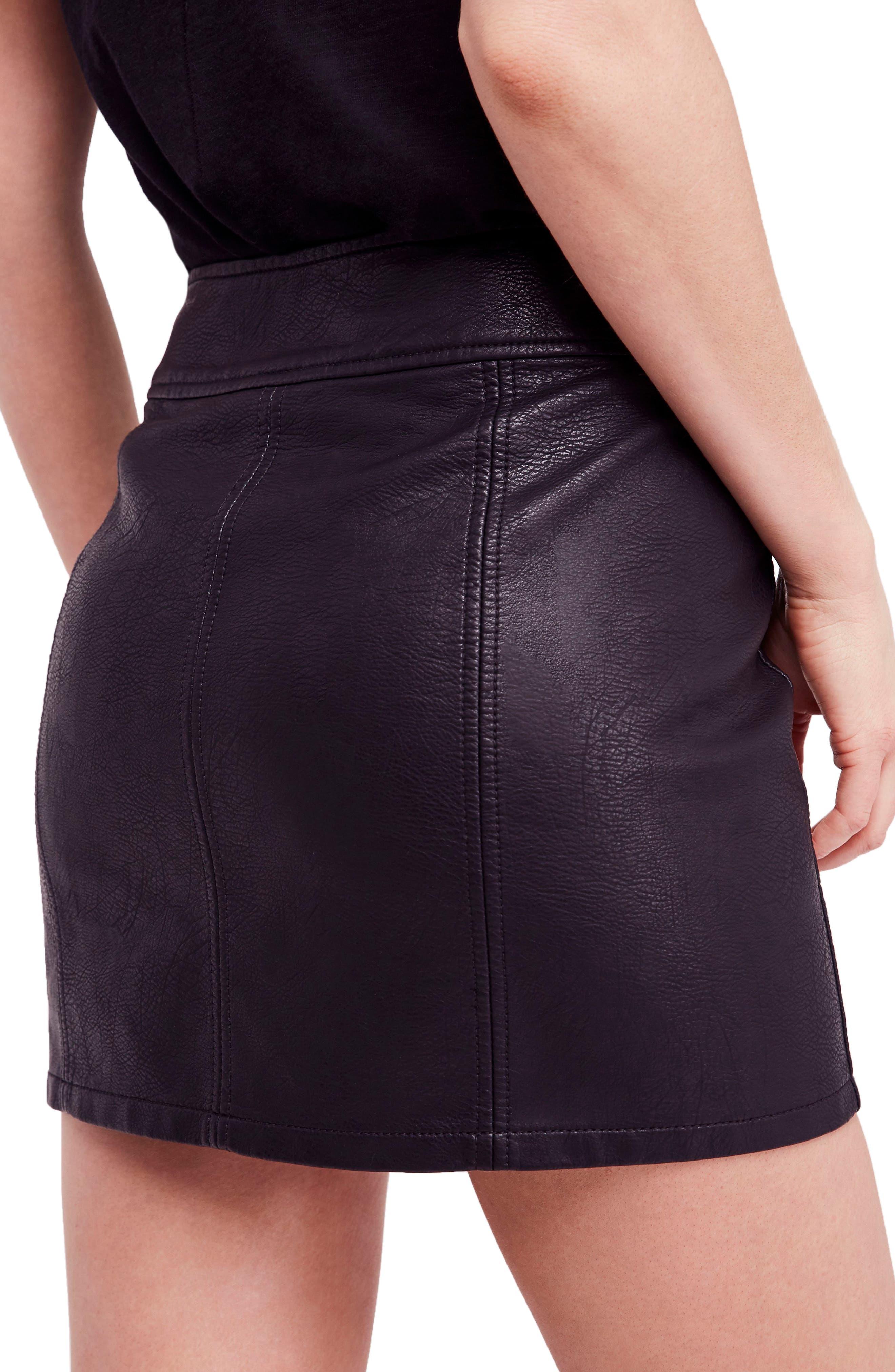 Retro Faux Leather Body-Con Miniskirt,                             Alternate thumbnail 2, color,                             001