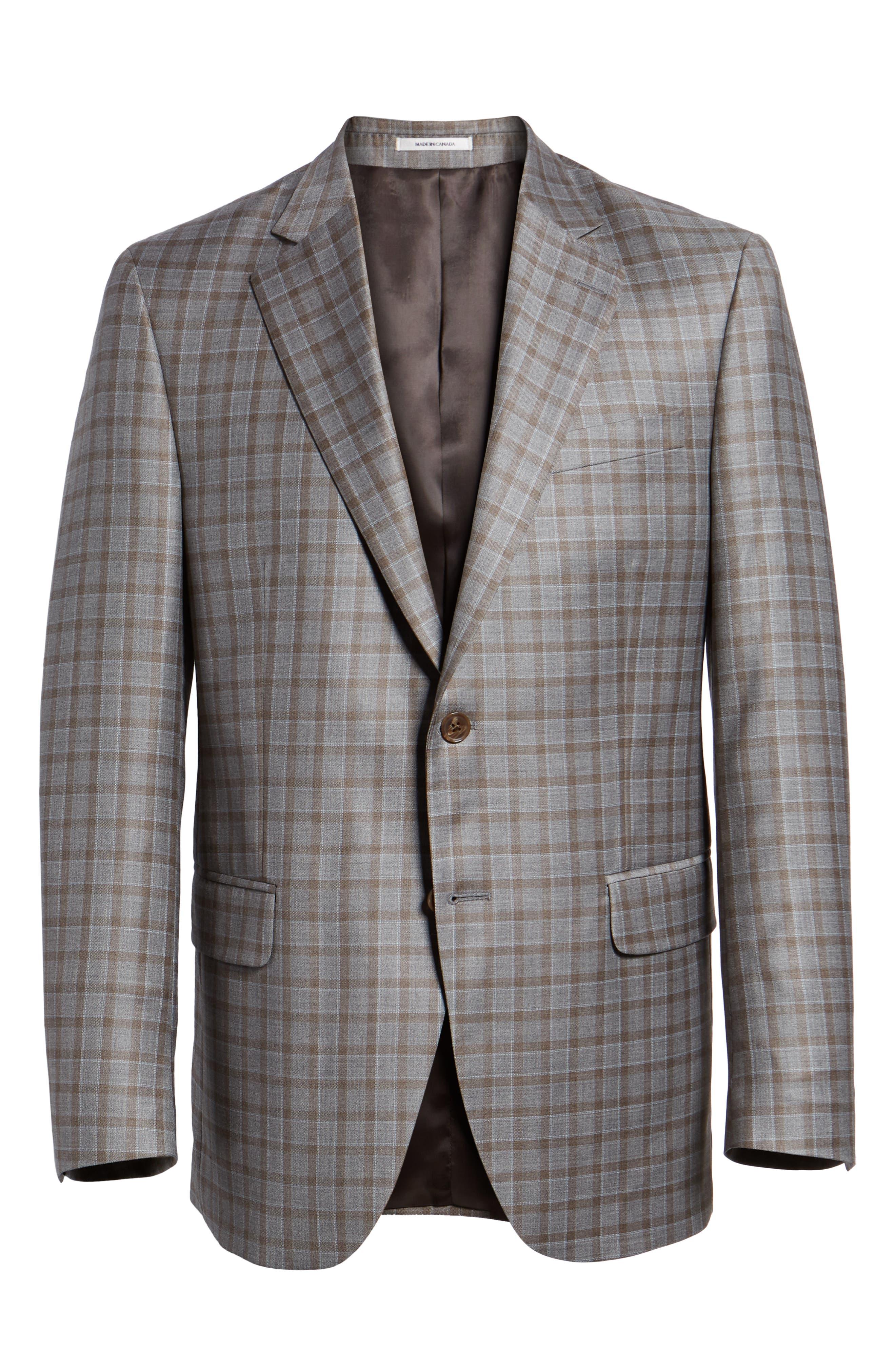 Flynn Classic Fit Check Wool Sport Coat,                             Alternate thumbnail 5, color,                             TAN