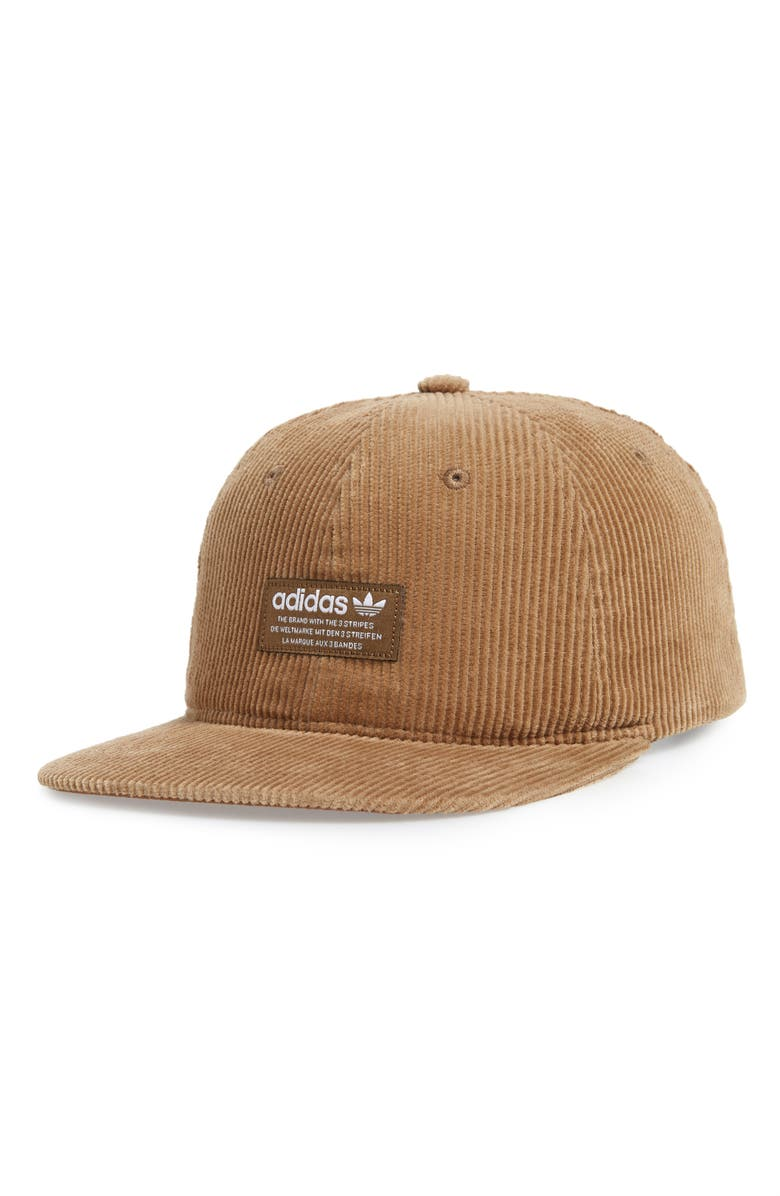 fc3c87b71c3 Wide-wale cotton corduroy ribs a classic six-panel cap finished with a top  button and a flat brim. Style Name  Adidas Originals Relaxed Corduroy Cap.