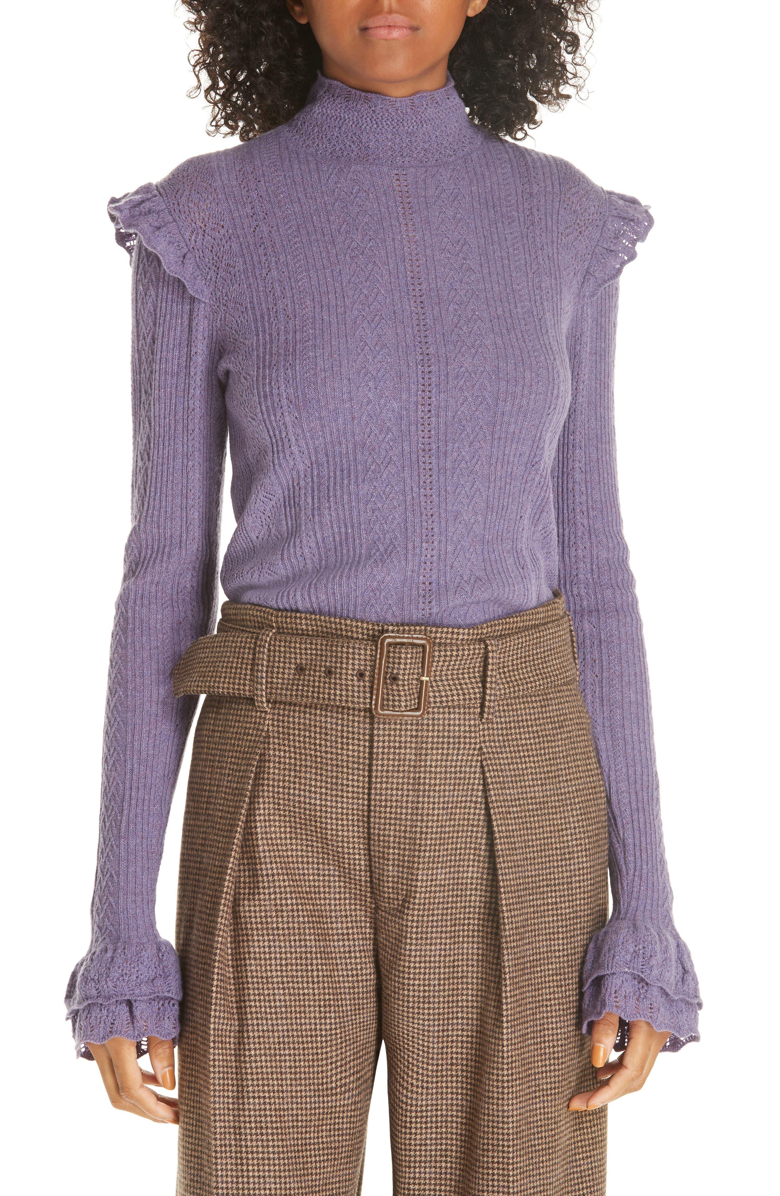 POLO RALPH LAUREN,                             Ruffle Detail Pointelle Sweater,                             Main thumbnail 1, color,                             500