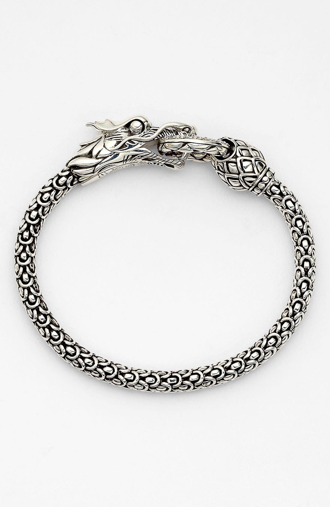 'Naga' Dragon Bracelet,                         Main,                         color, SILVER/ DIAMOND