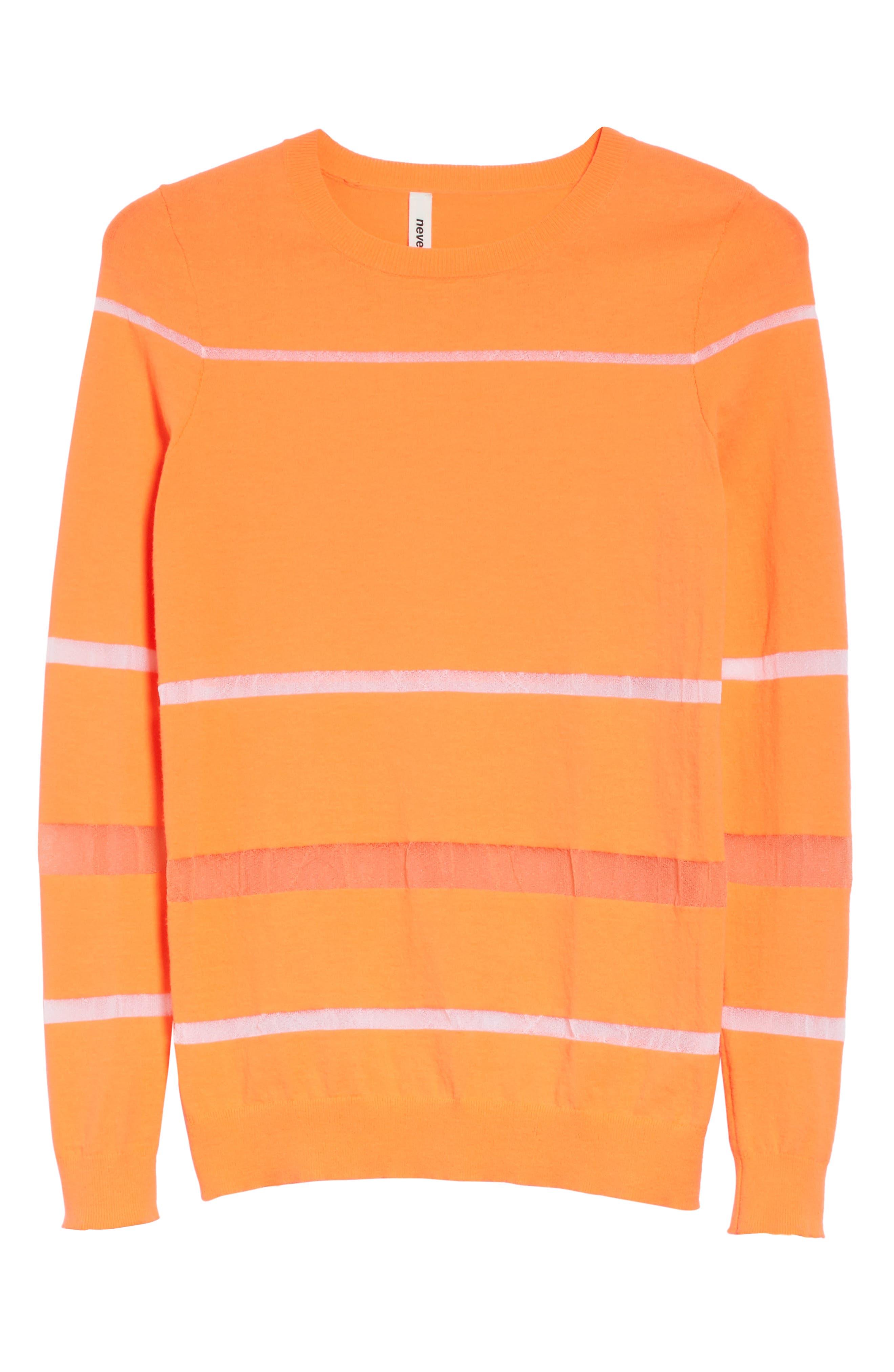 Illusion Stripe Crewneck Sweater,                             Alternate thumbnail 6, color,                             850