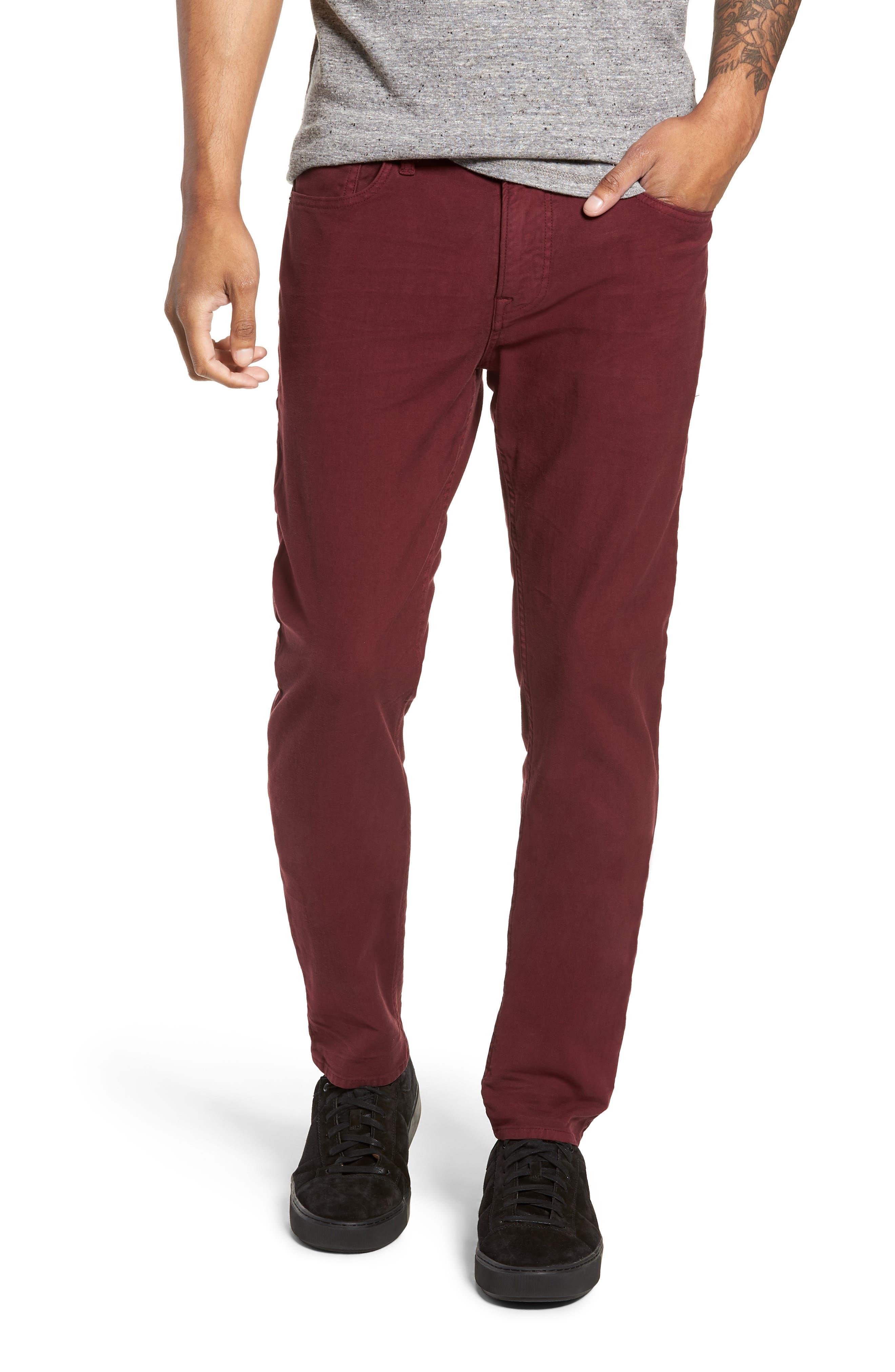 Men's Hudson Jeans Axl Skinny Fit Twill Jeans, Size 29 - Burgundy
