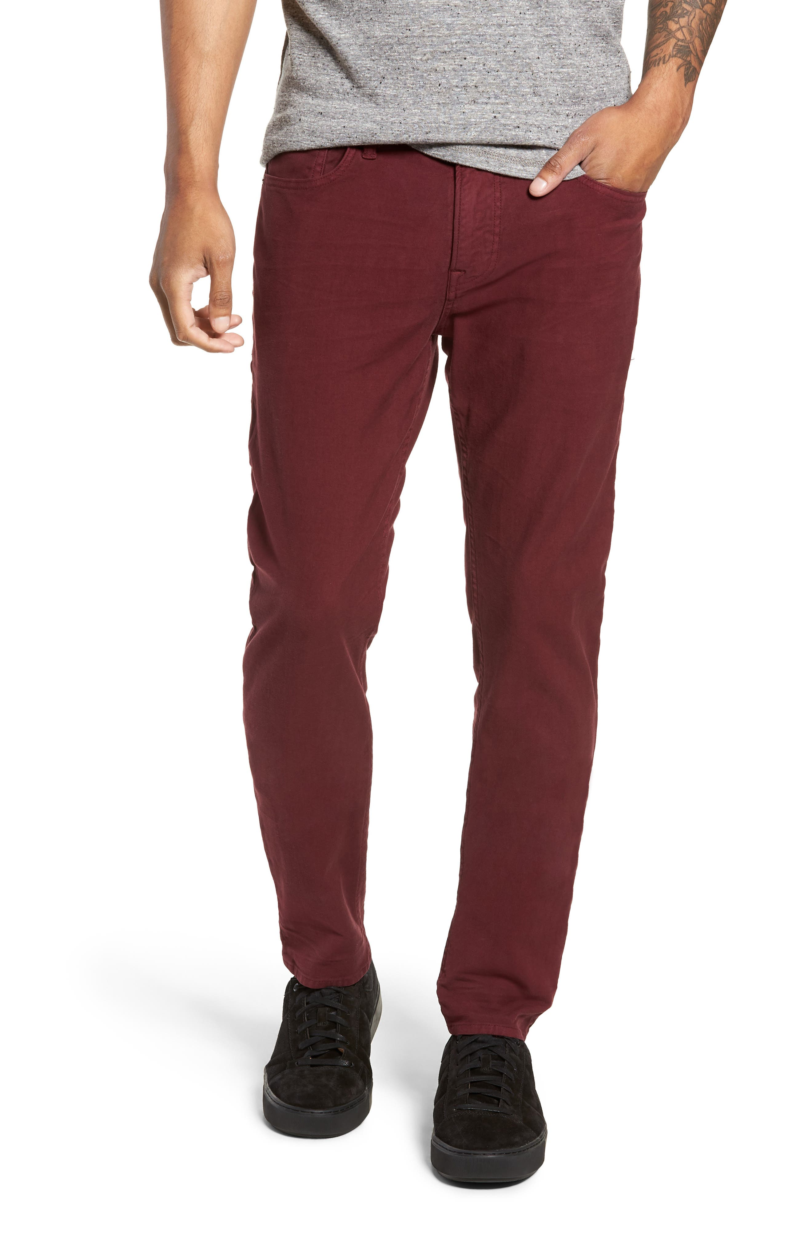Axl Skinny Fit Twill Jeans,                             Main thumbnail 1, color,                             OXBLOOD
