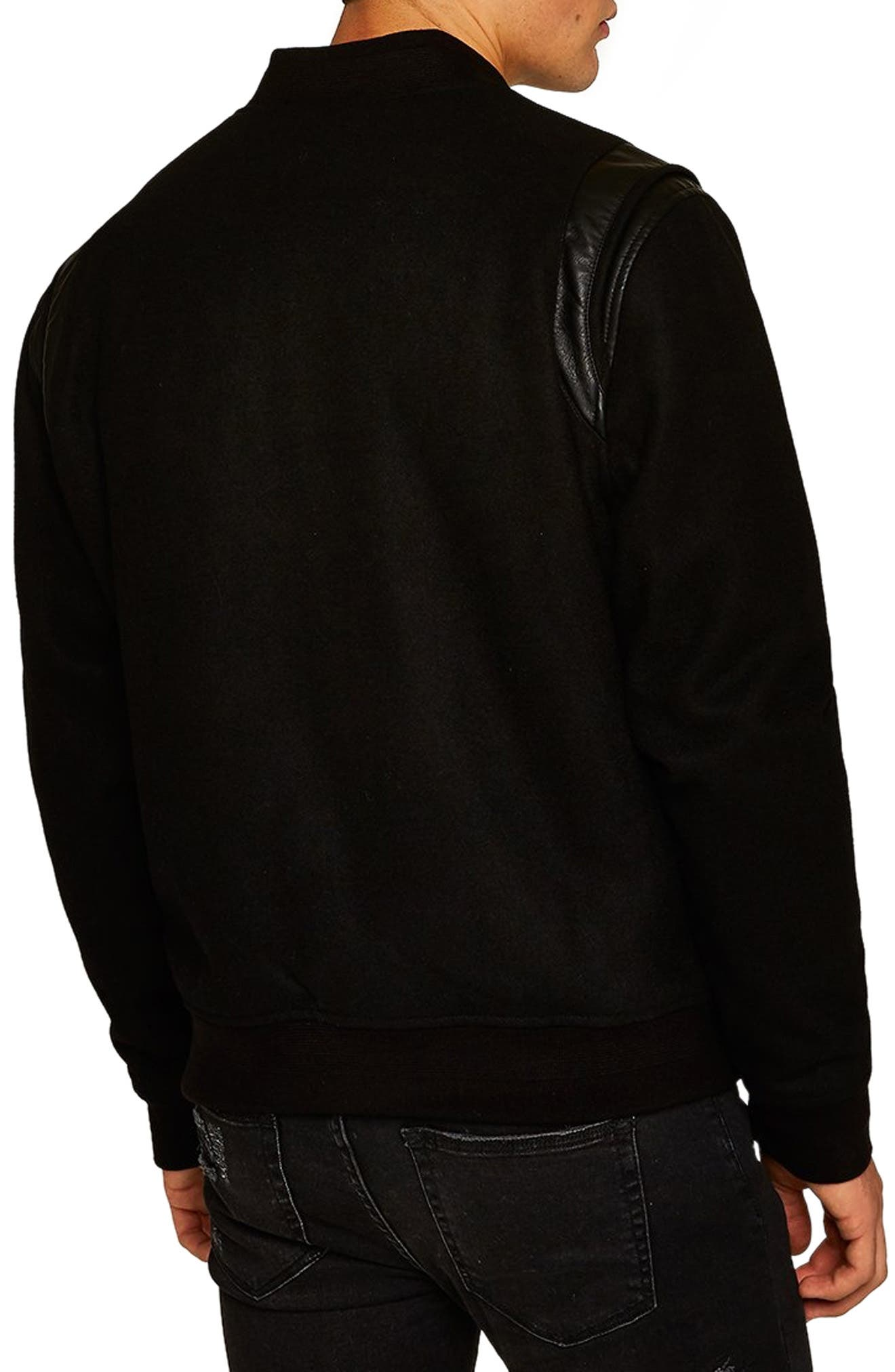Wool Blend Varsity Jacket,                             Alternate thumbnail 2, color,                             BLACK