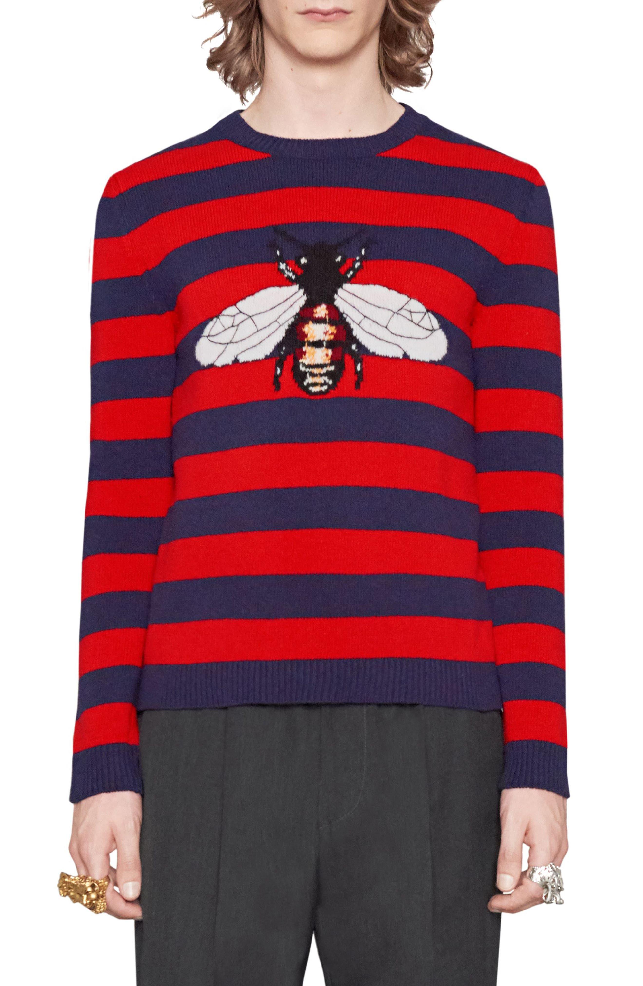 Stripe Bee Wool Crewneck Sweater,                         Main,                         color, 493