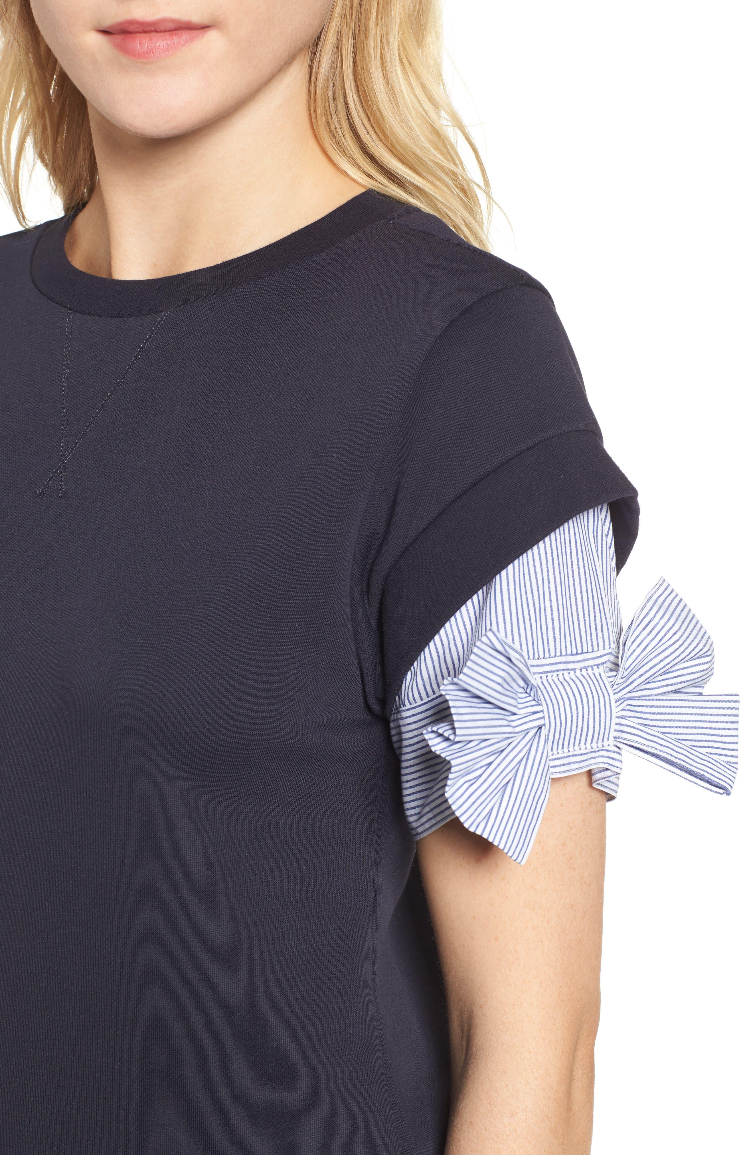 Bow Sleeve Sweatshirt,                             Alternate thumbnail 8, color,