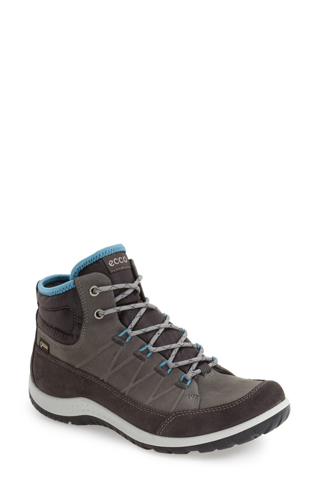 ECCO 'Aspina GTX' Waterproof High Top Shoe, Main, color, MOONLESS OILED SUEDE